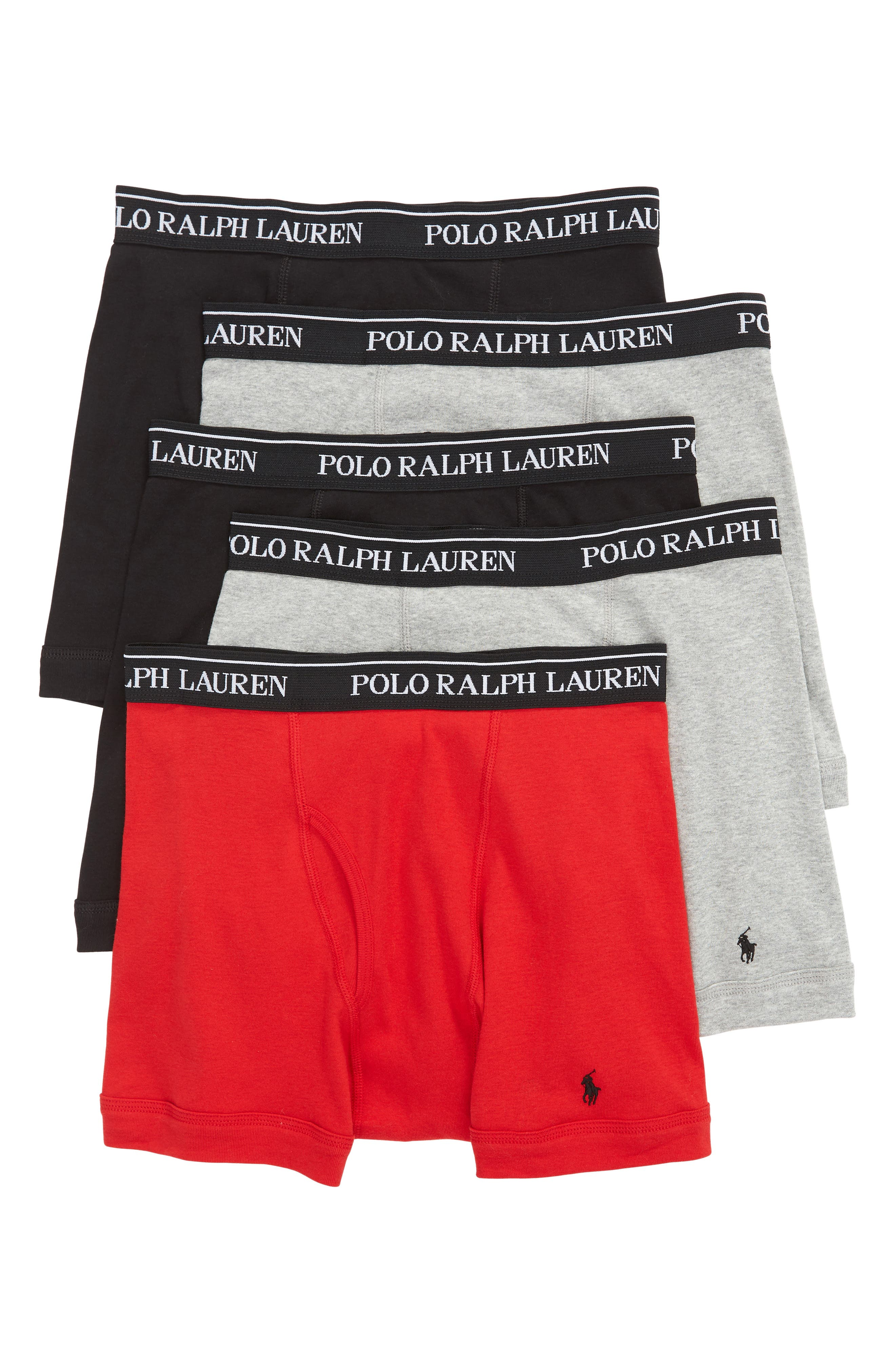 5-Pack Cotton Boxer Briefs,                         Main,                         color, ANDOVER HEATHER/ RED/ BLACK
