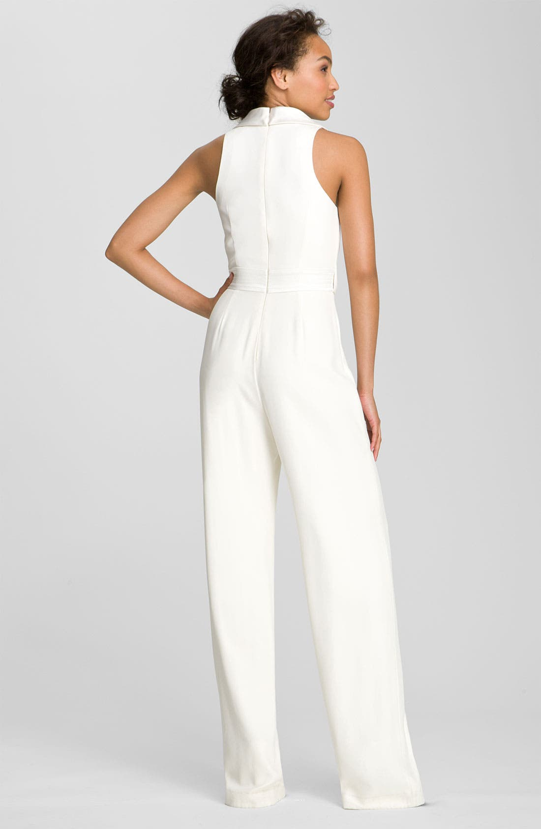 THEIA,                             Tuxedo Style Silk Jumpsuit,                             Alternate thumbnail 2, color,                             900