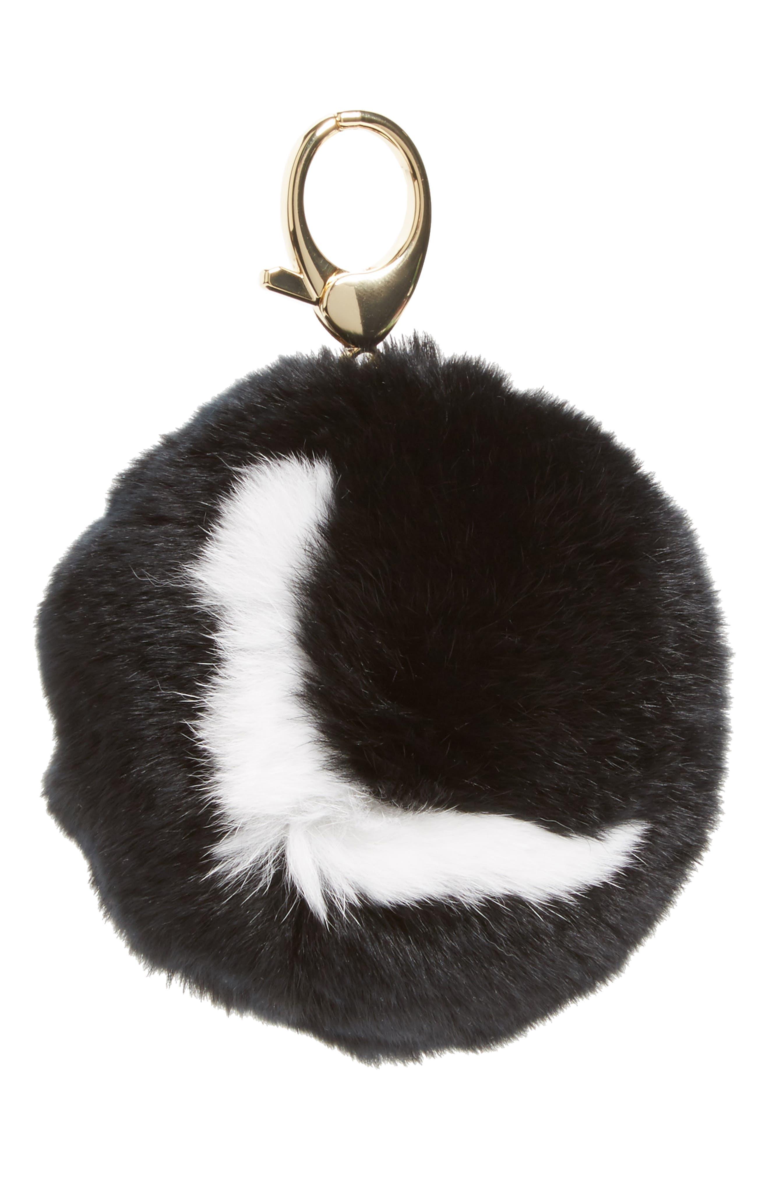REBECCA MINKOFF,                             Genuine Rabbit Fur Initial Pom Bag Charm,                             Main thumbnail 1, color,                             001