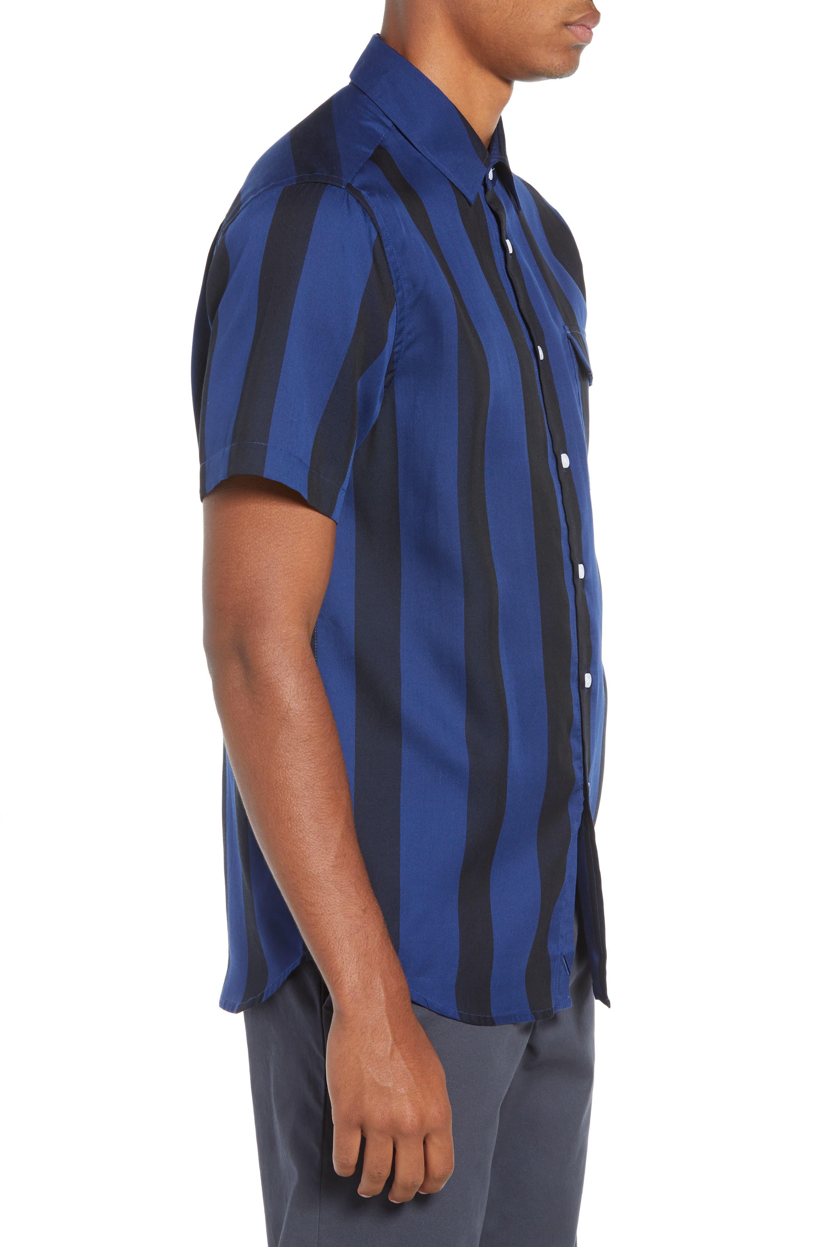 SATURDAYS NYC,                             Saturdays Nico Broad Stripe Woven Shirt,                             Alternate thumbnail 4, color,                             001