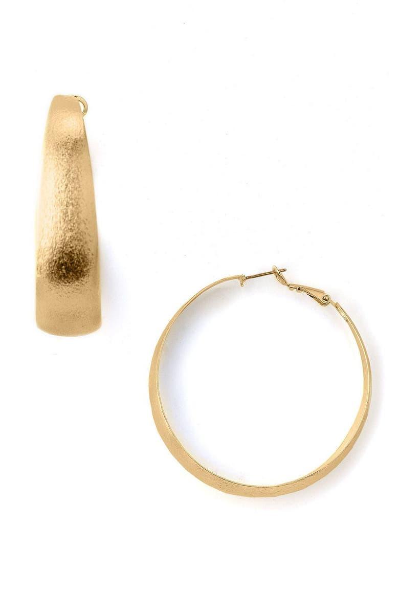 Large Wide Brushed Gold Hoop Earrings