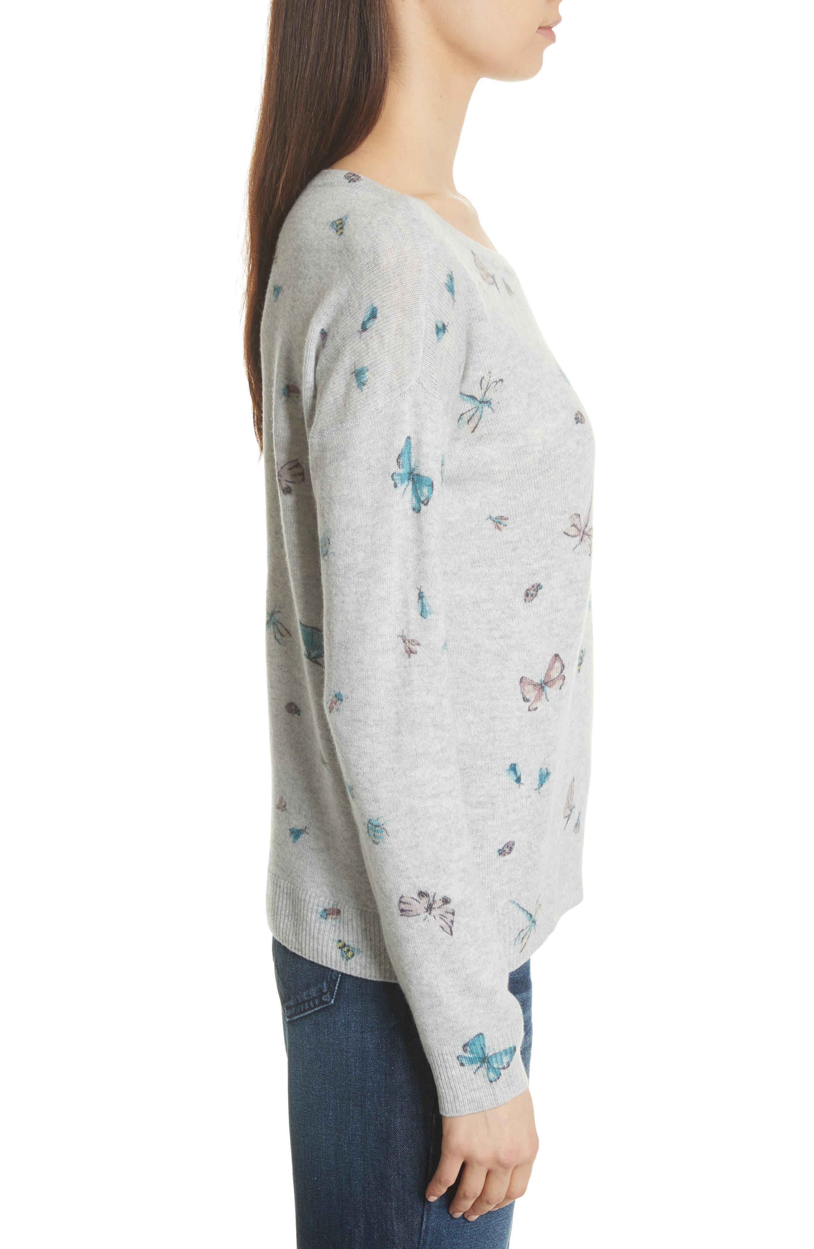 Eloisa Painted Bug Cashmere Top,                             Alternate thumbnail 3, color,