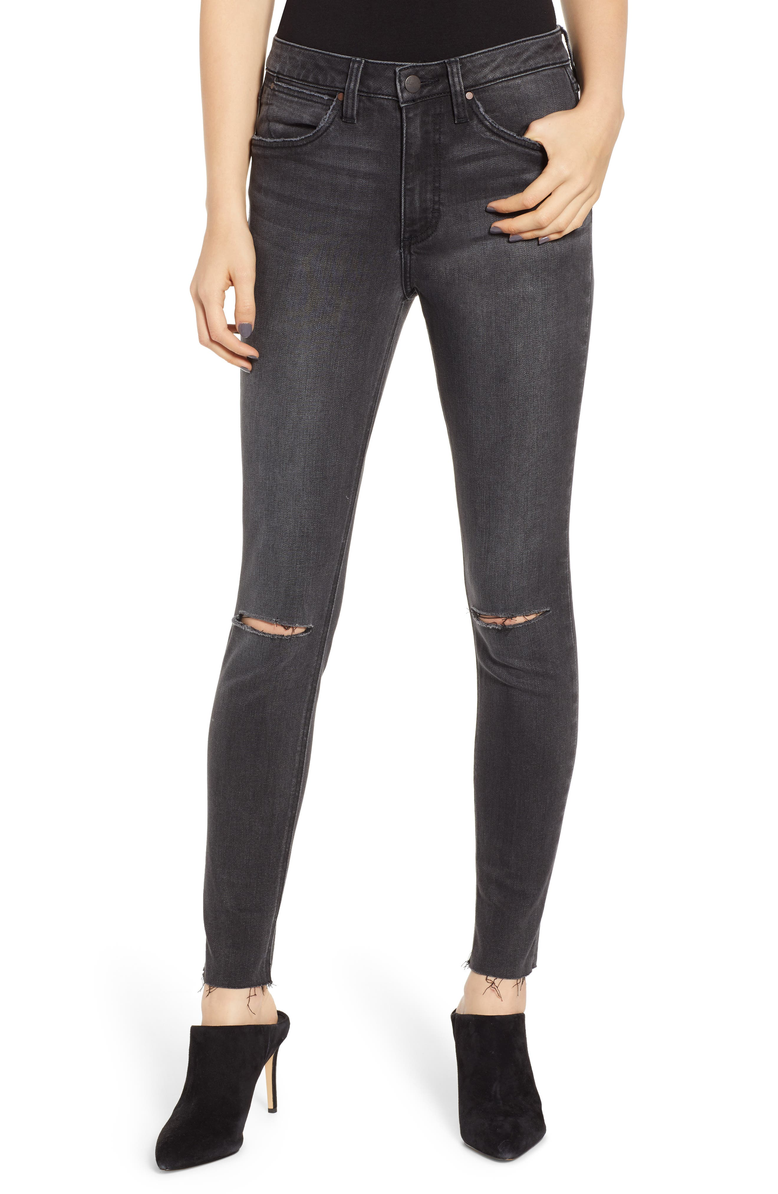 Ripped High Waist Skinny Jeans,                             Main thumbnail 1, color,                             GREY