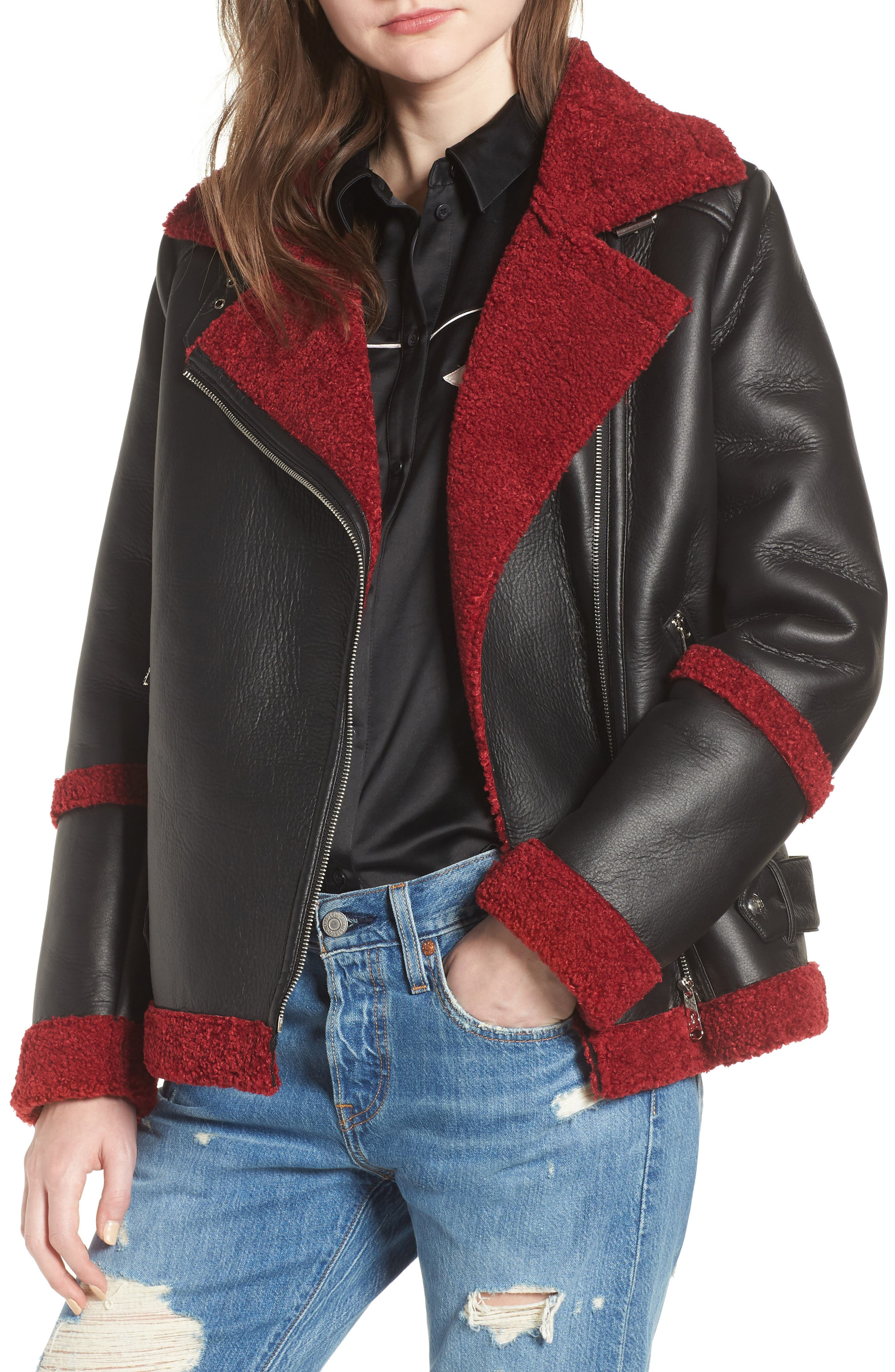 Oversize Faux Shearling Moto Jacket,                             Main thumbnail 1, color,                             001