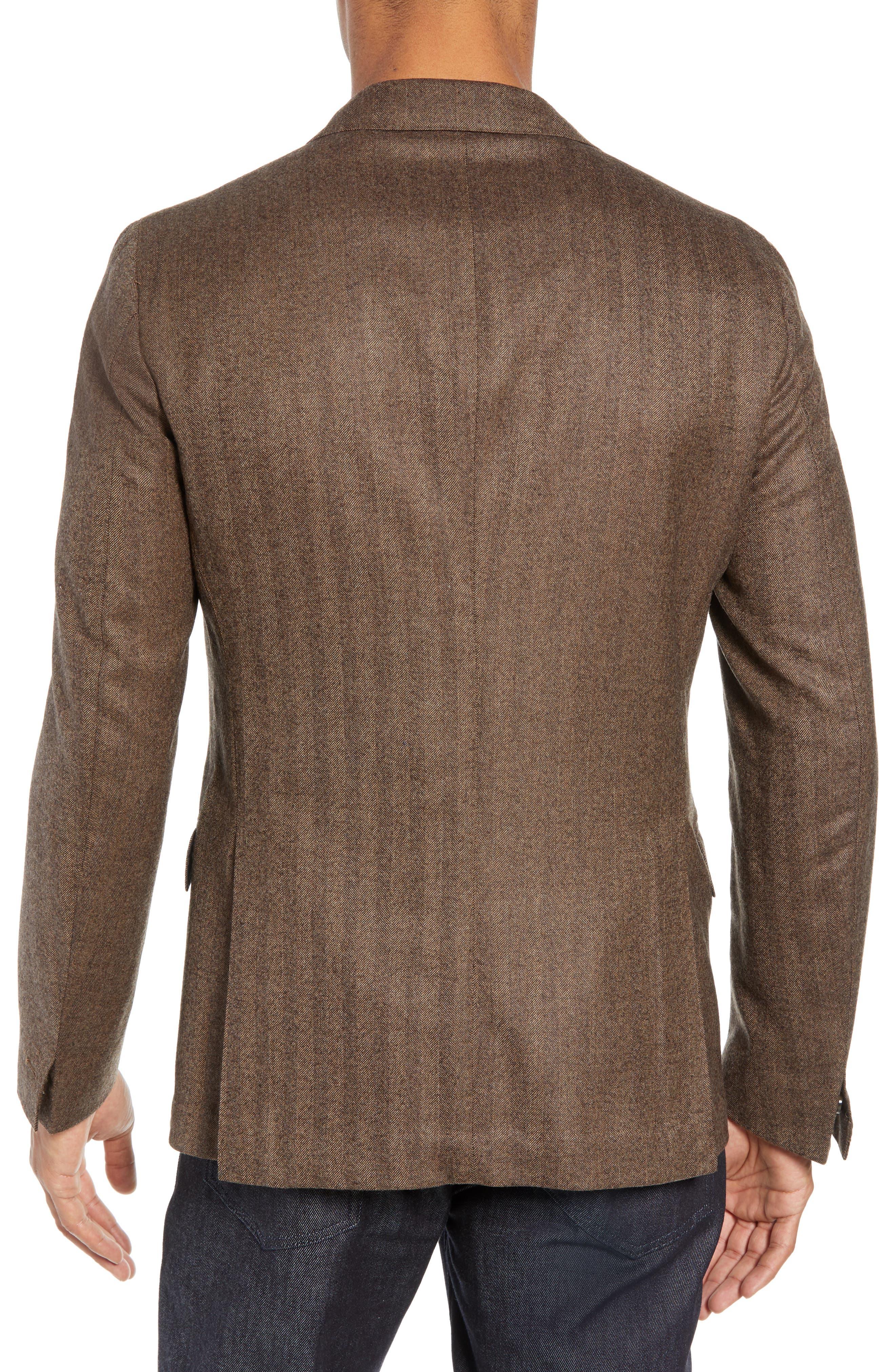 Trim Fit Herringbone Wool Sport Coat,                             Alternate thumbnail 2, color,                             BROWN