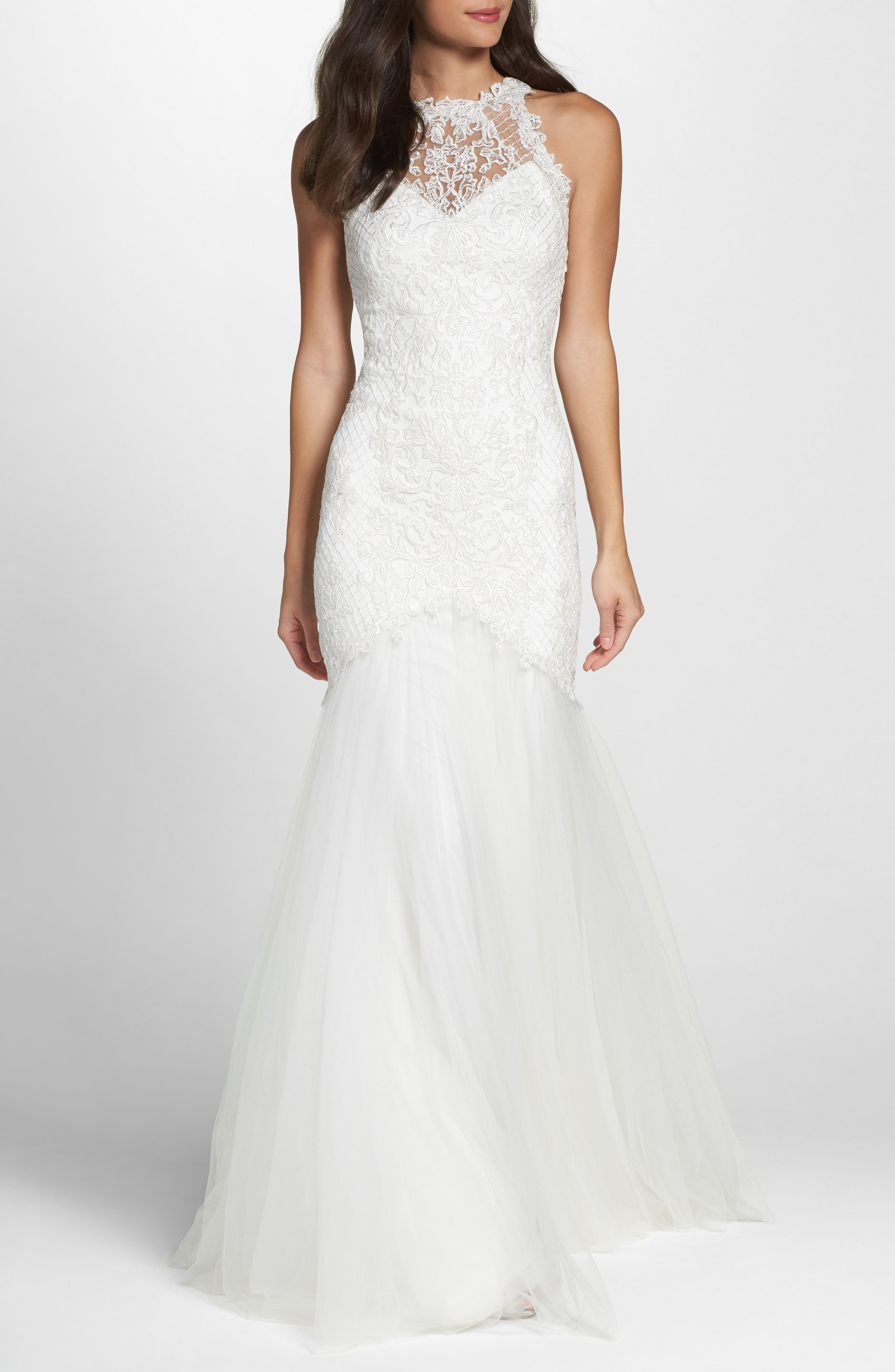TADASHI SHOJI Lace Halter Mermaid Gown, Main, color, IVORY