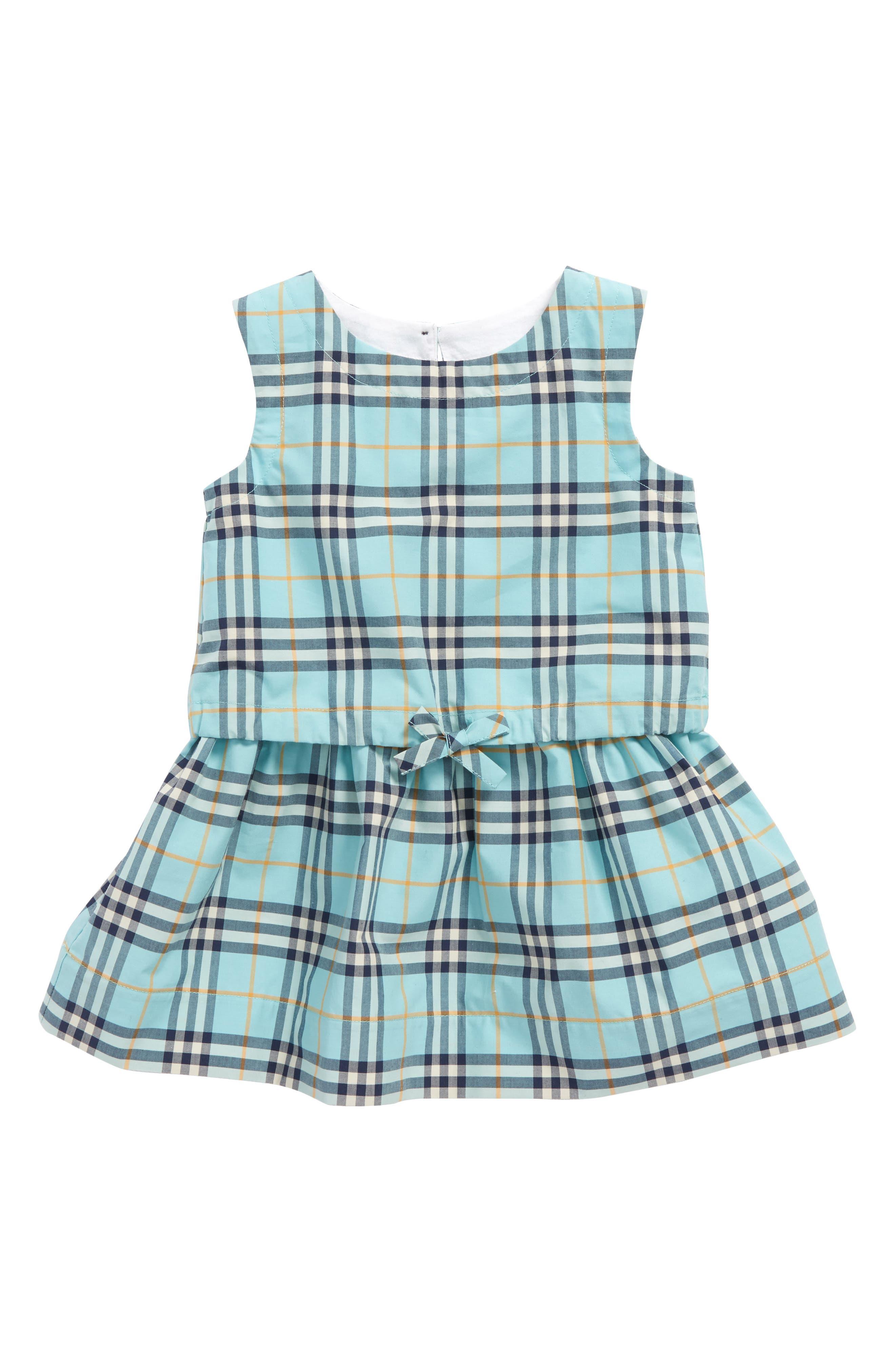 Mabel Check Dress,                         Main,                         color, BRIGHT AQUA