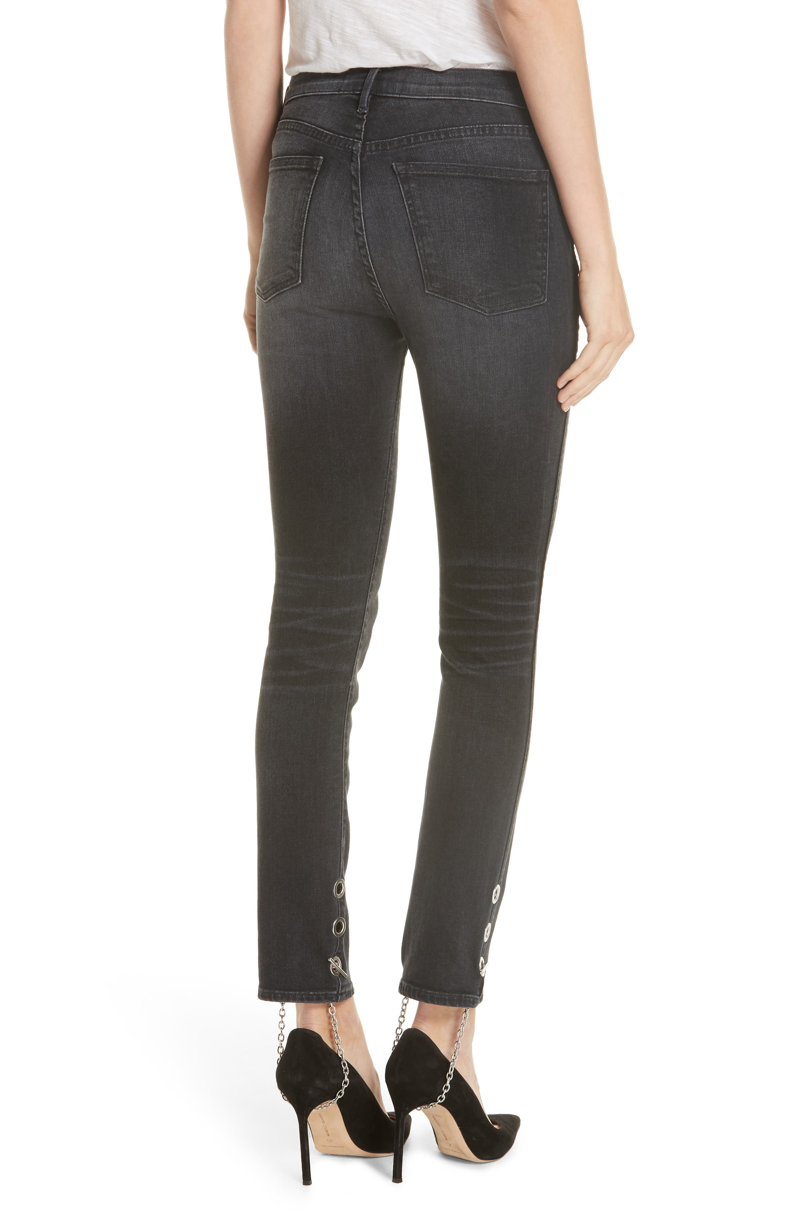 3X1 NYC,                             Bijou Chain Stirrup Ankle Skinny Jeans,                             Alternate thumbnail 2, color,                             004