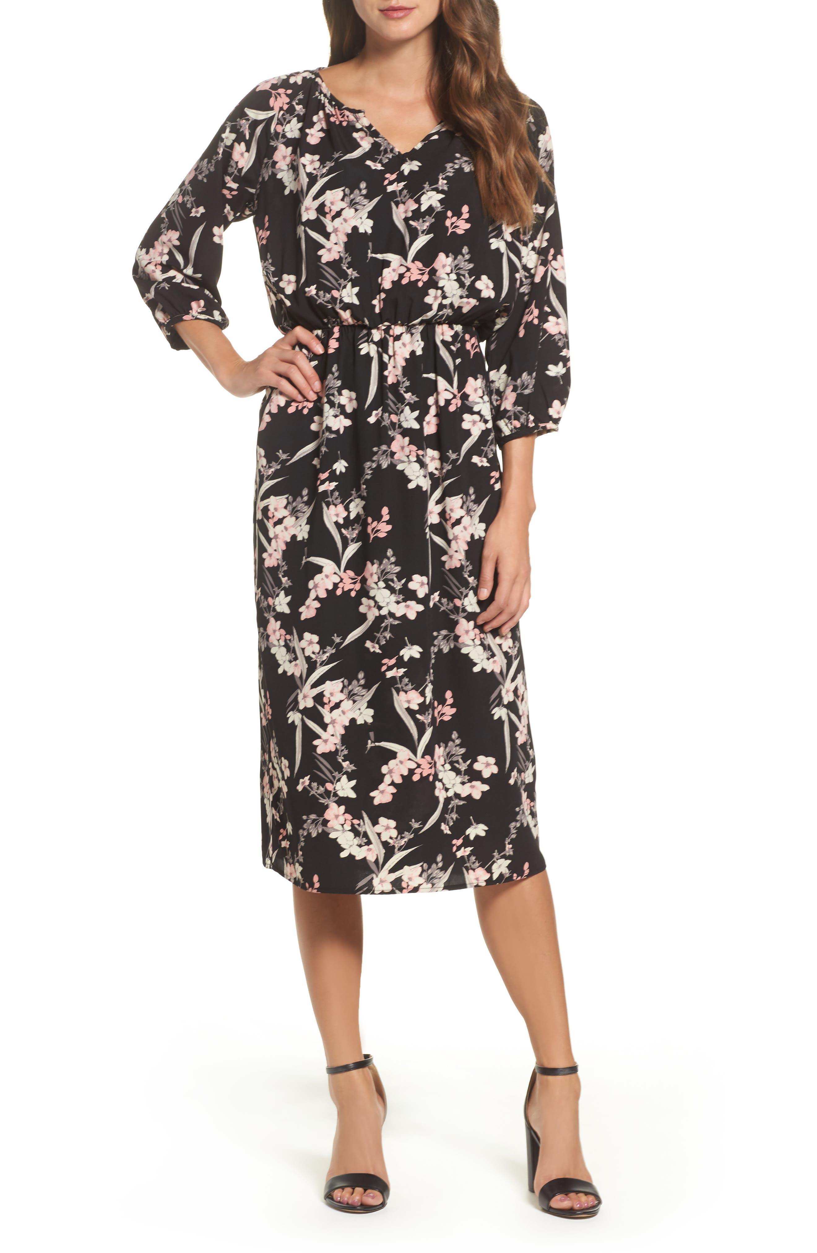 Blouson Midi Dress,                             Main thumbnail 1, color,                             IRIS