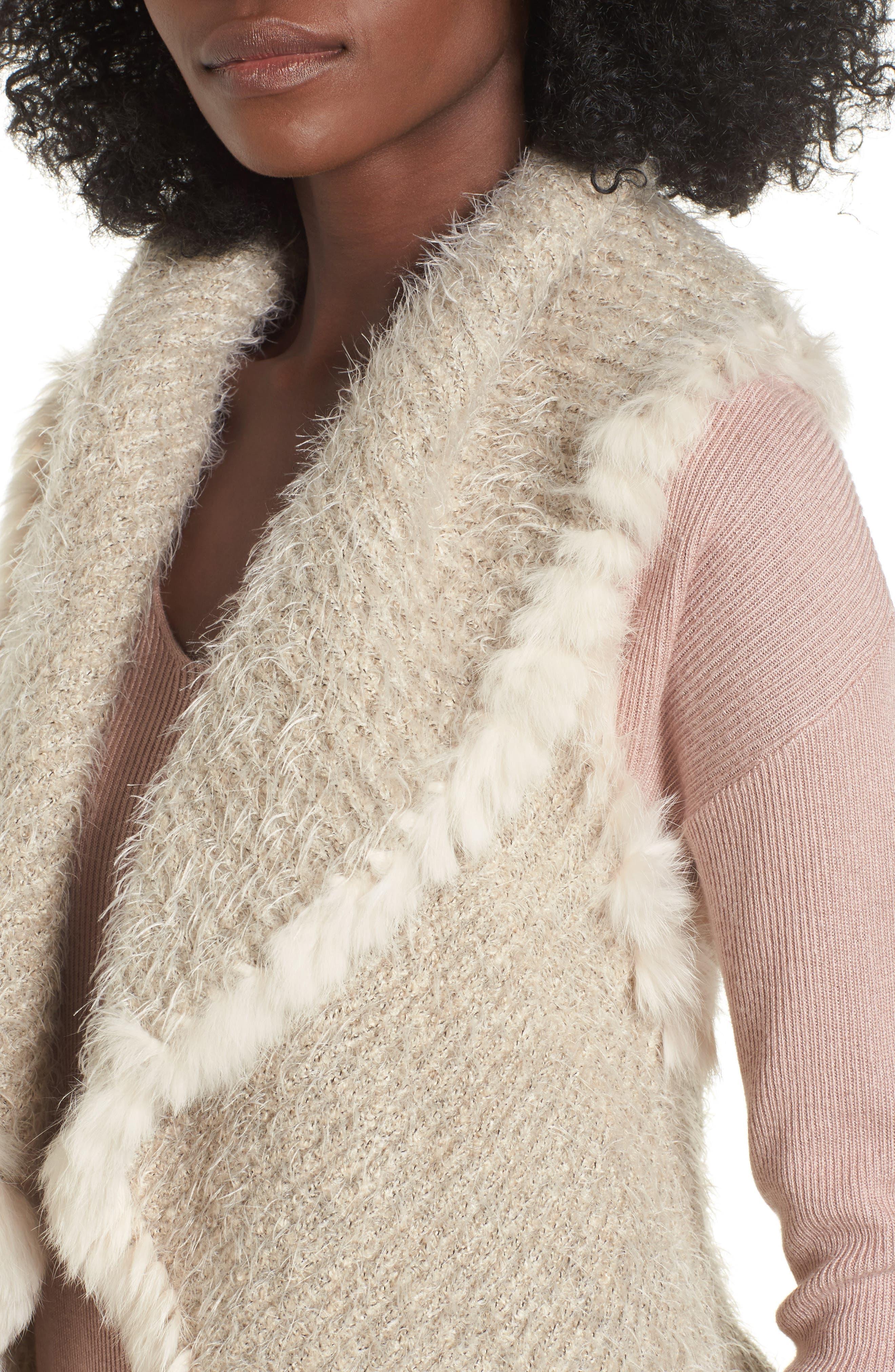 Knit Vest with Genuine Rabbit Fur Trim,                             Alternate thumbnail 12, color,