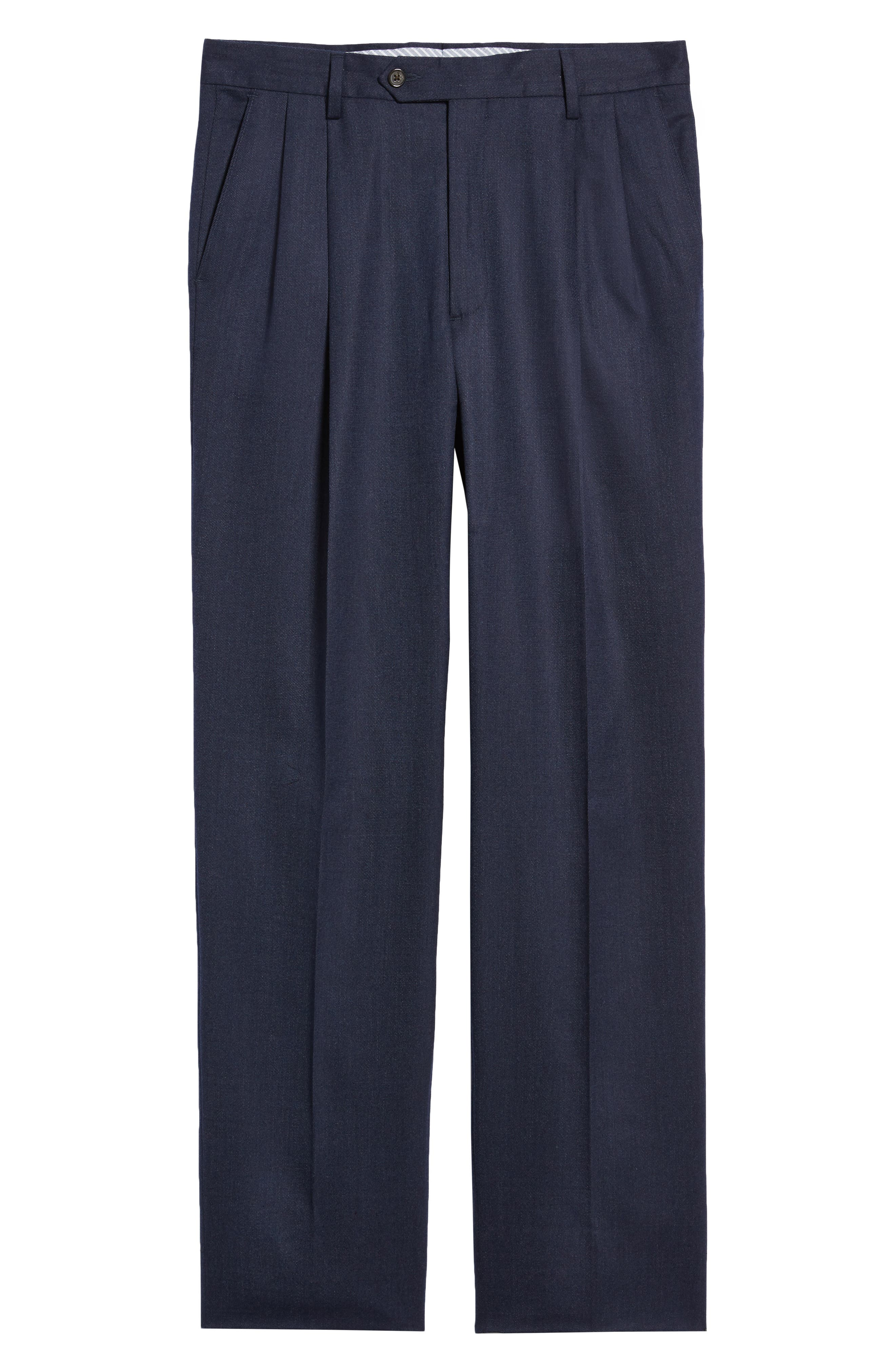 Manufacturing Pleated Stretch Solid Wool & Cotton Trousers,                             Alternate thumbnail 6, color,                             BLUE