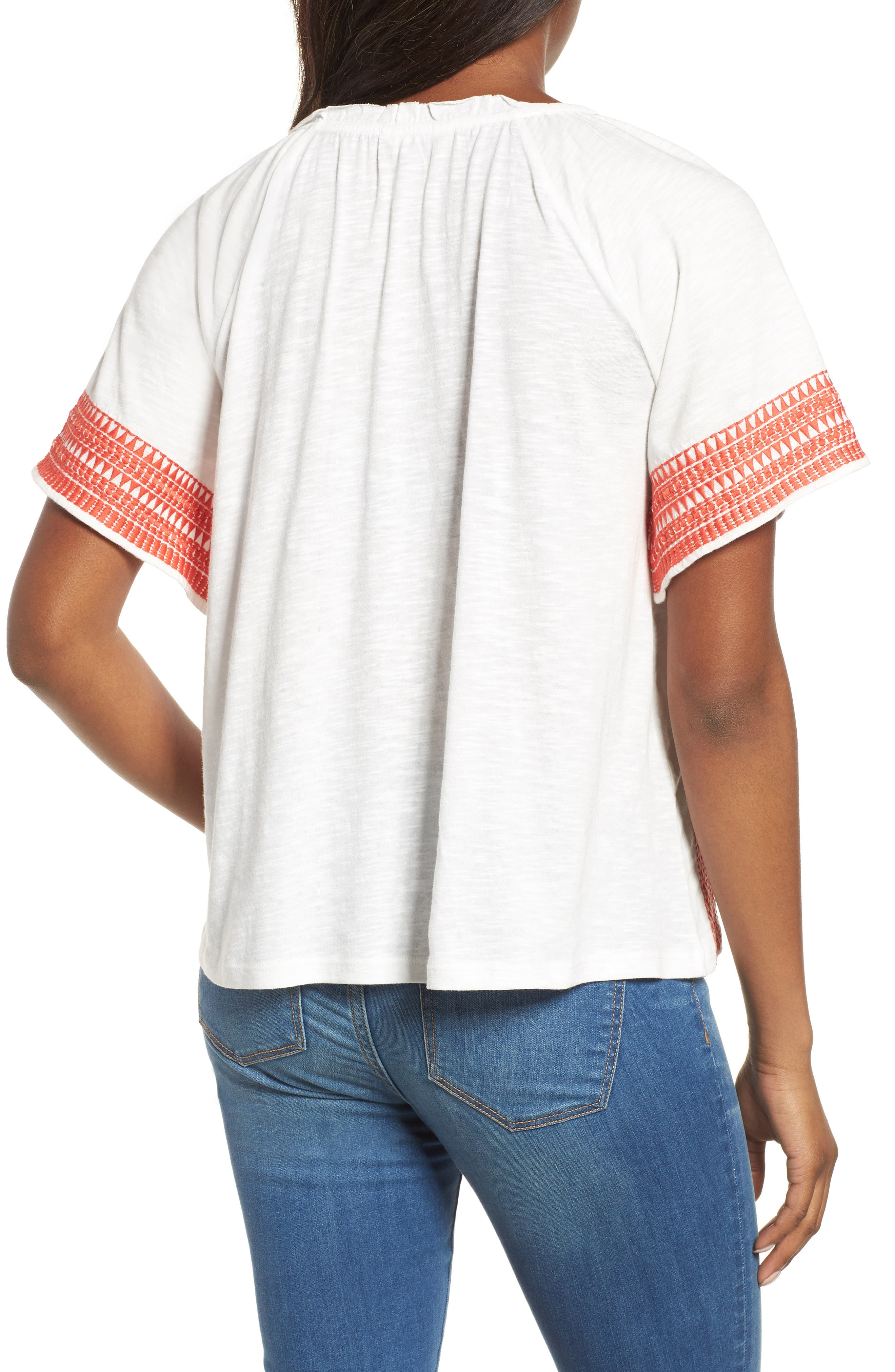 Embroidered Border Peasant Top,                             Alternate thumbnail 7, color,