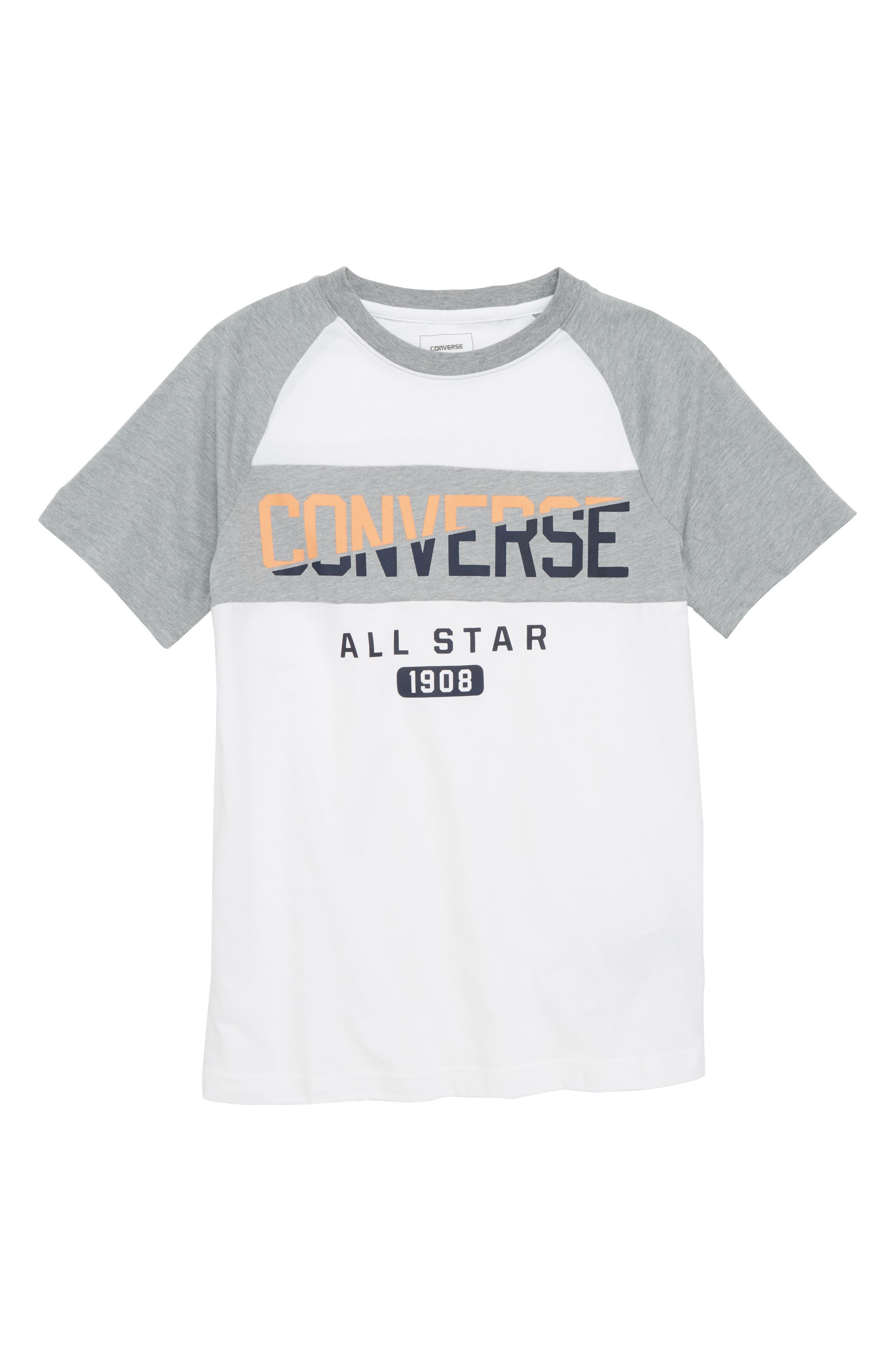 Spliced Graphic Raglan T-Shirt,                         Main,                         color, 100