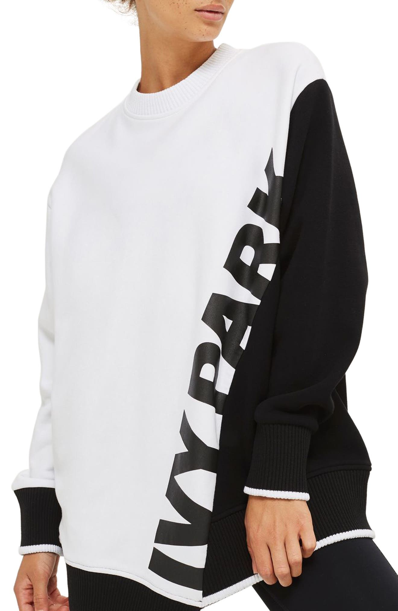 Asymmetrical Logo Sweatshirt,                             Main thumbnail 1, color,                             100
