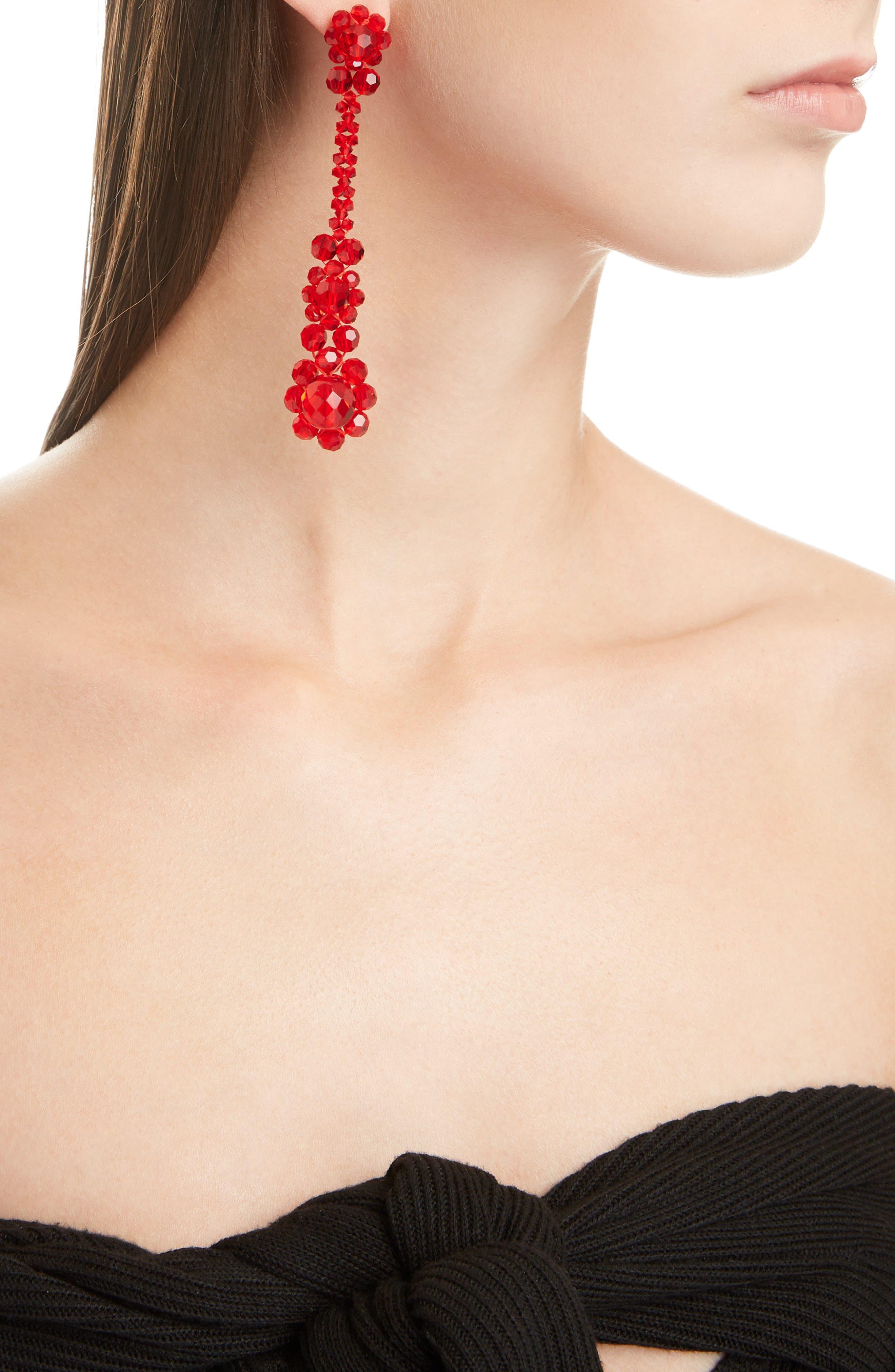 Crystal Drop Earrings,                             Alternate thumbnail 3, color,                             RED