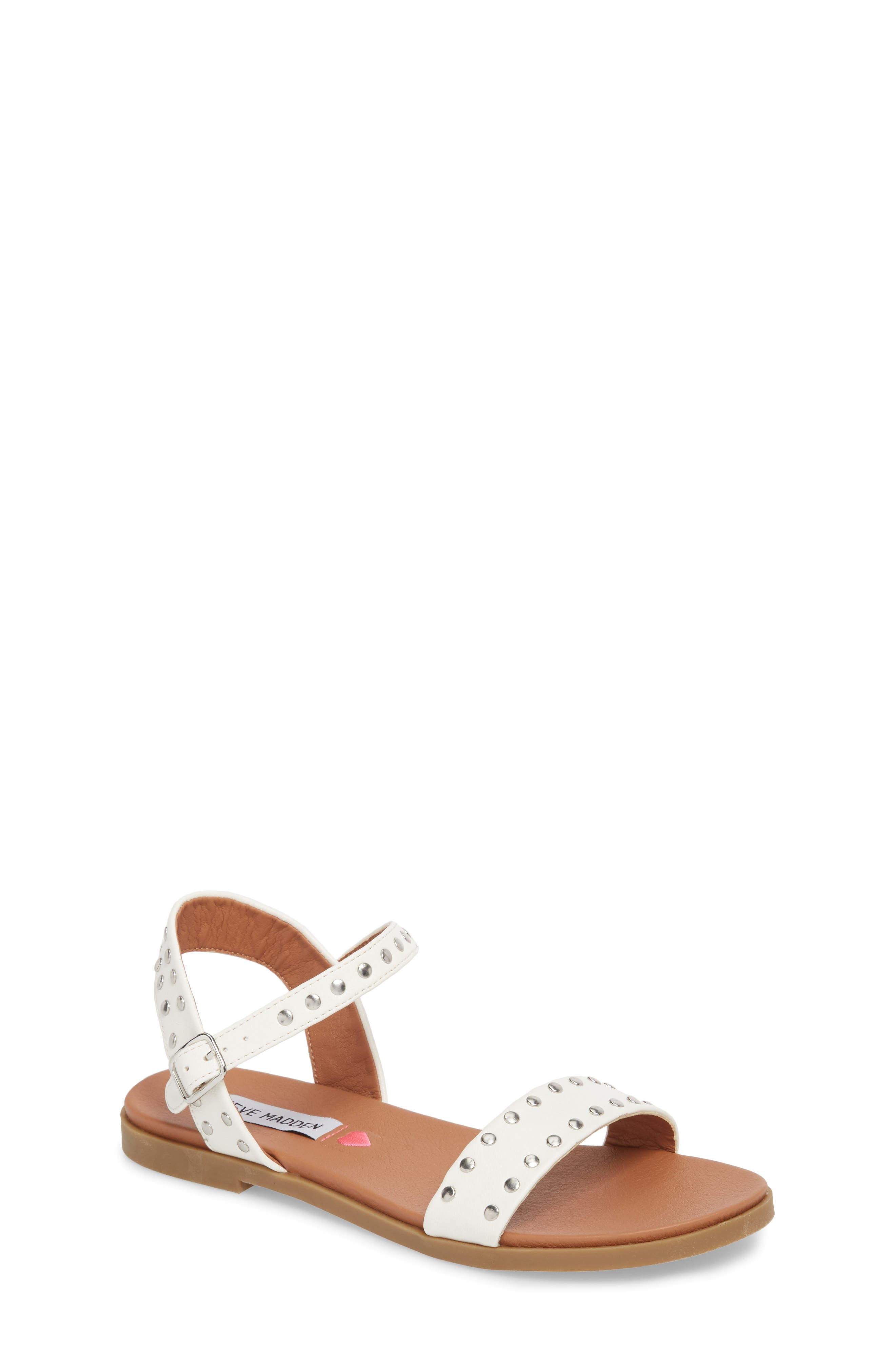 JDONDI Studded Sandal,                             Main thumbnail 1, color,                             WHITE