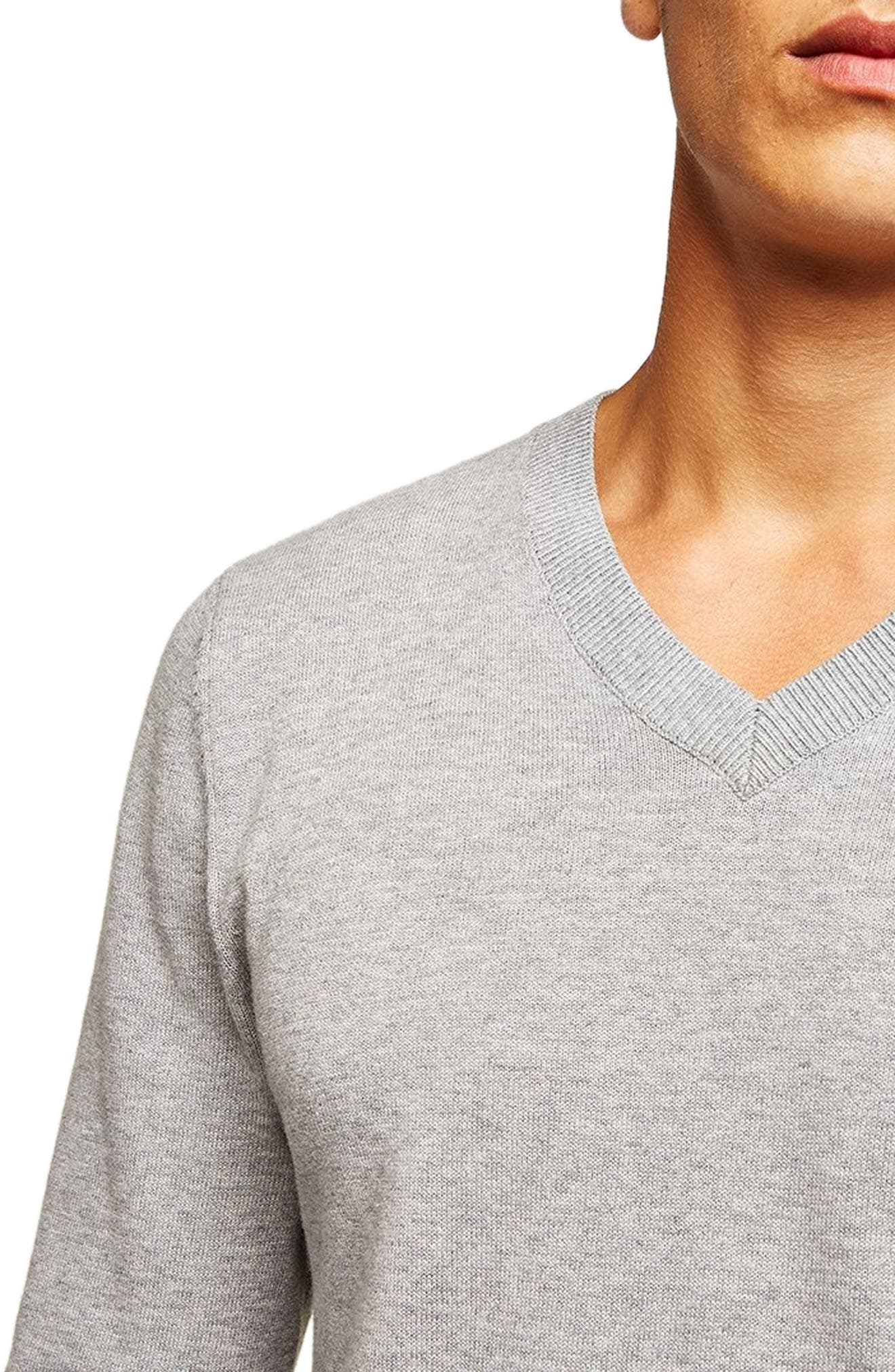 Classic V-Neck Sweater,                             Alternate thumbnail 3, color,                             GREY