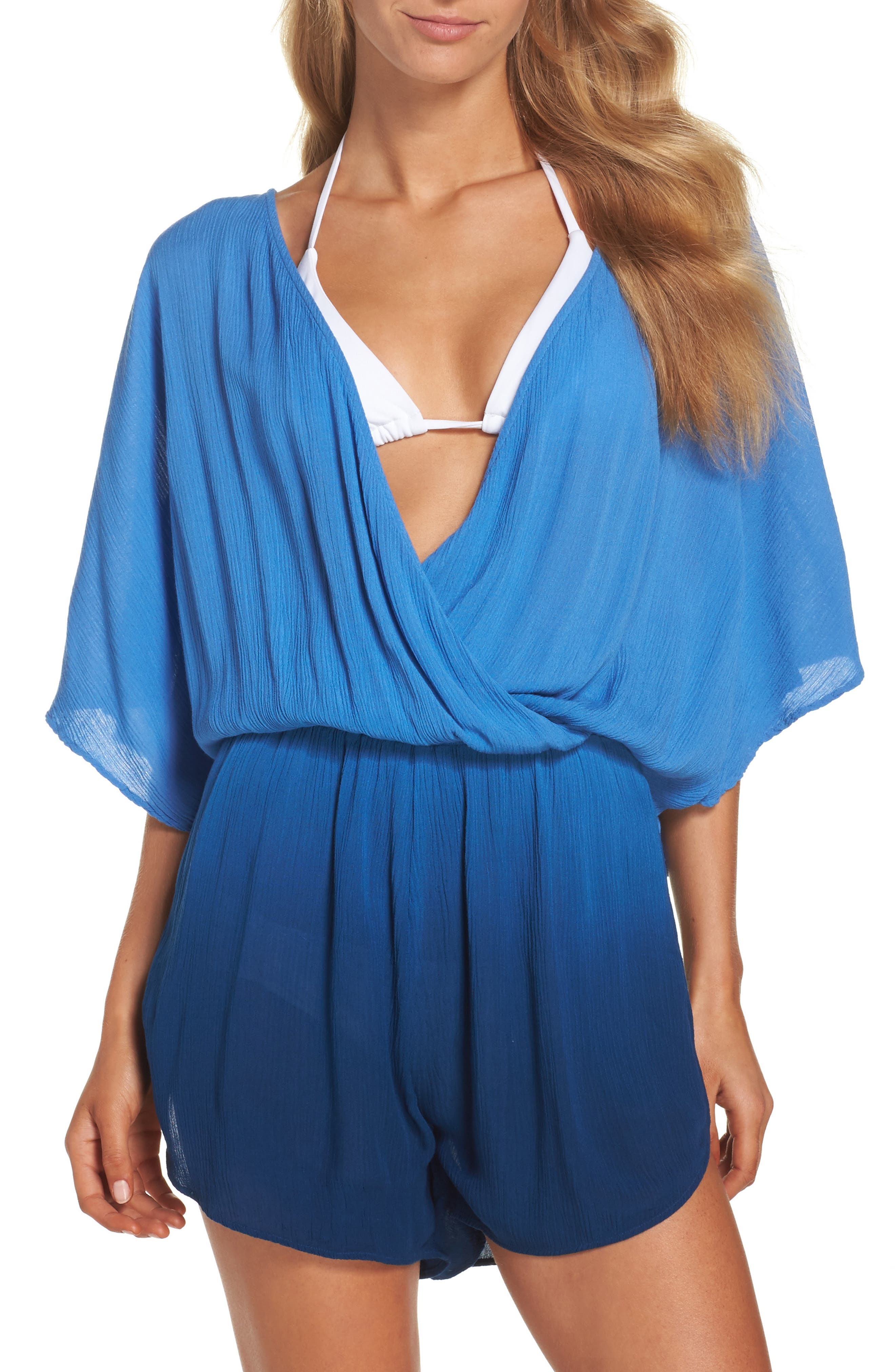Take a Dip Eliza Crinkle Cover-Up Romper,                             Main thumbnail 1, color,                             400