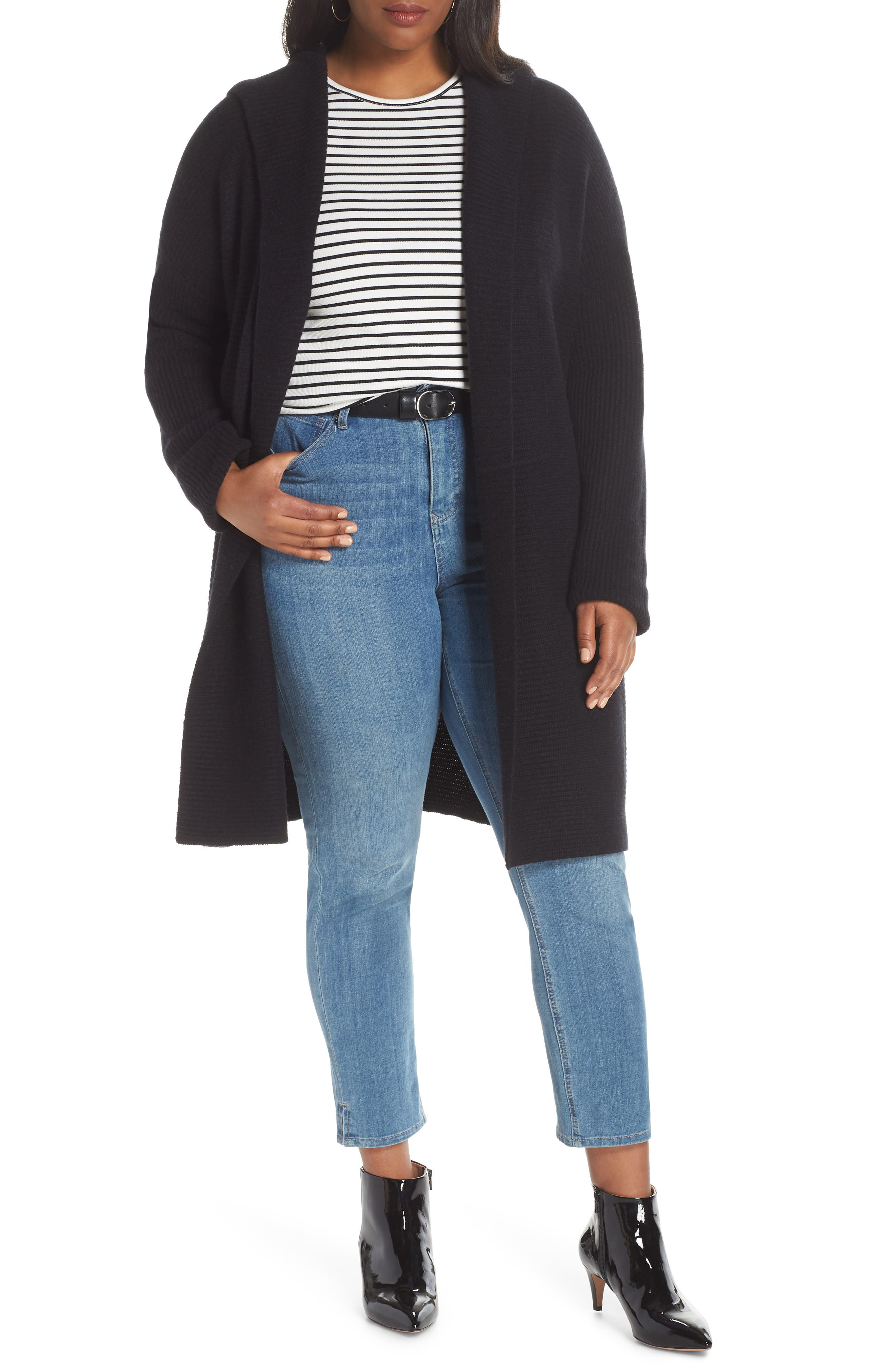 Hooded Wool & Cashmere Cardigan, Main, color, BLACK