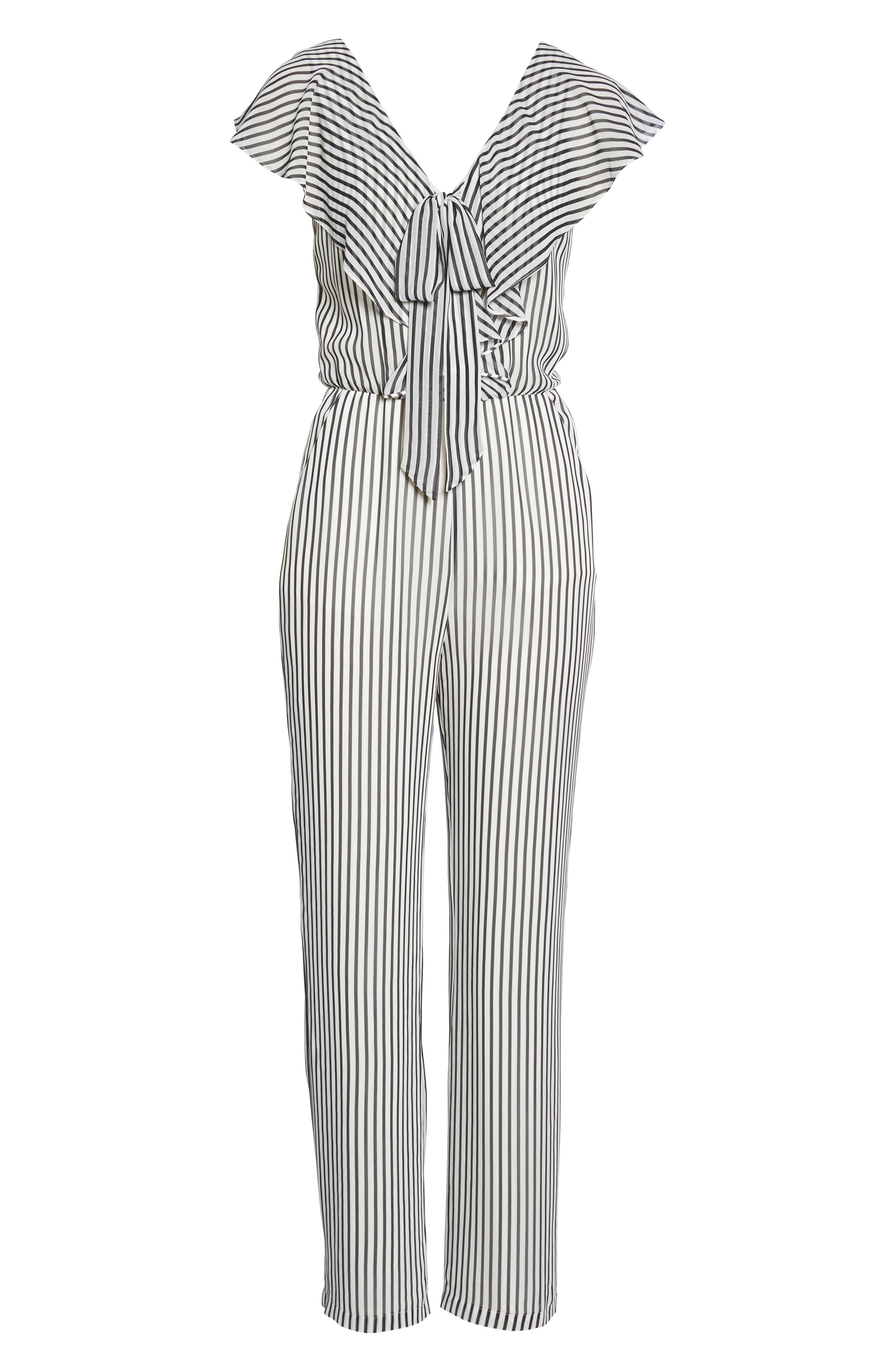Cherry on Top Stripe Ruffle Jumpsuit,                             Alternate thumbnail 6, color,                             100