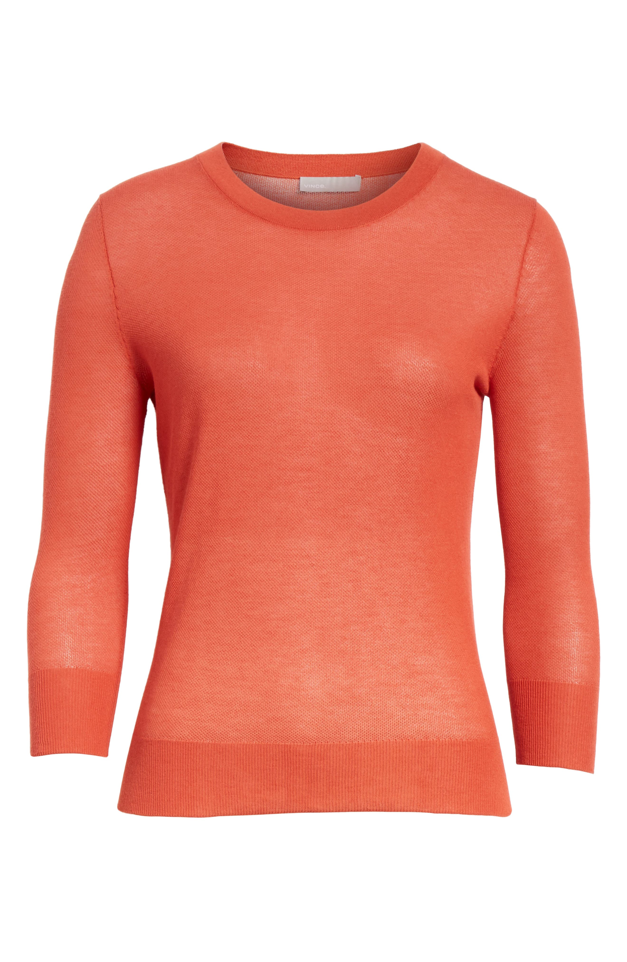Textured Cotton Pullover Sweater,                             Alternate thumbnail 6, color,                             PAPRIKA