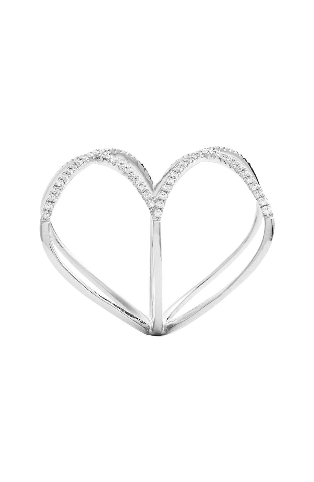 Diamond Double Crisscross Ring,                             Alternate thumbnail 2, color,                             WHITE GOLD