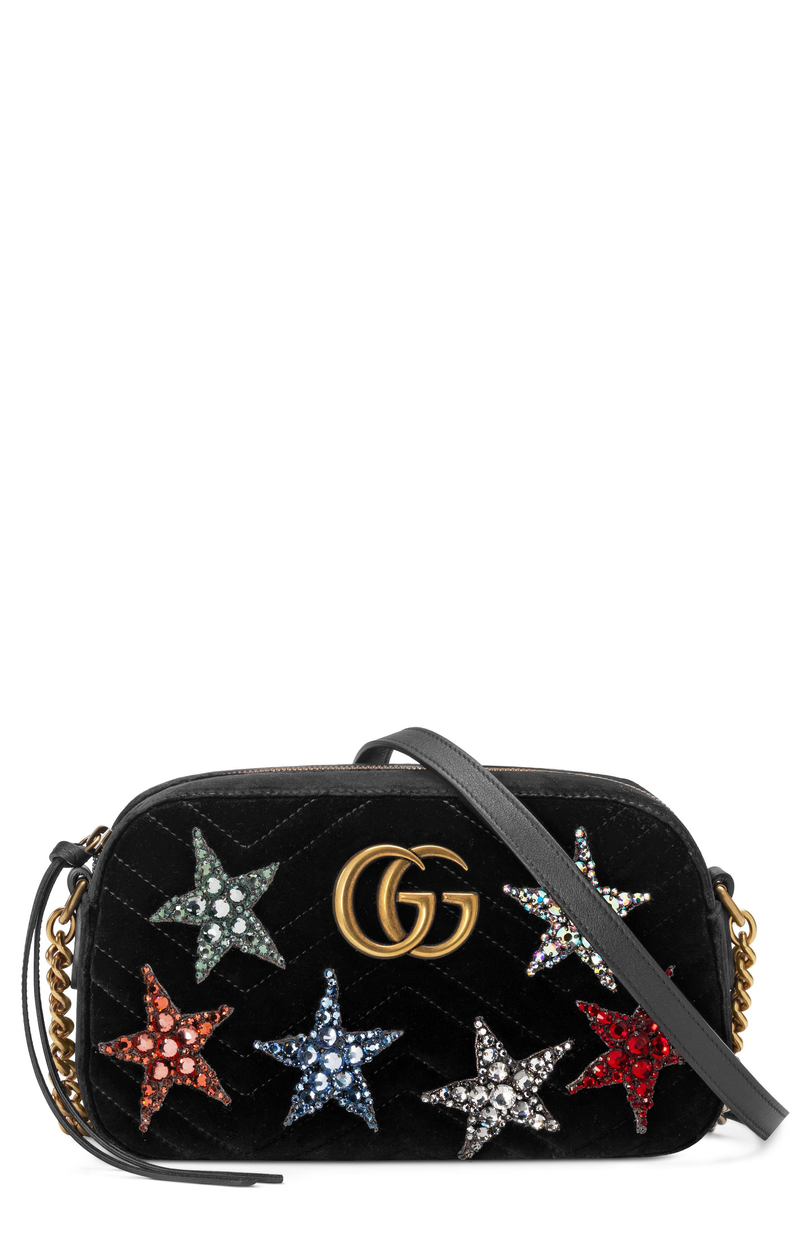 Small GG Marmont 2.0 Crystal Stars Velvet Shoulder Bag,                             Main thumbnail 1, color,                             NERO/ NERO MULTI