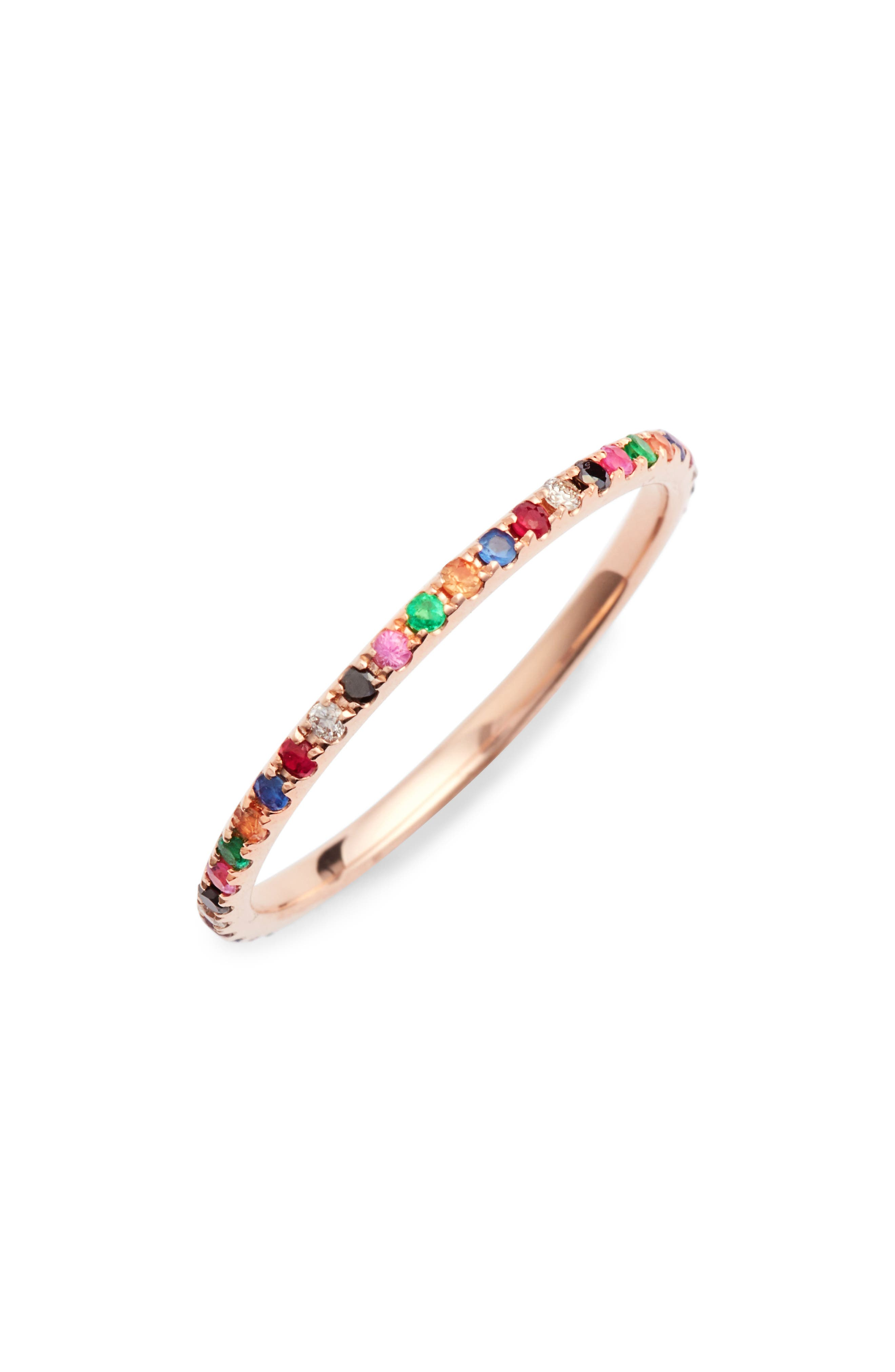 EF COLLECTION,                             Rainbow Precious Gem Stack Ring,                             Main thumbnail 1, color,                             ROSE GOLD