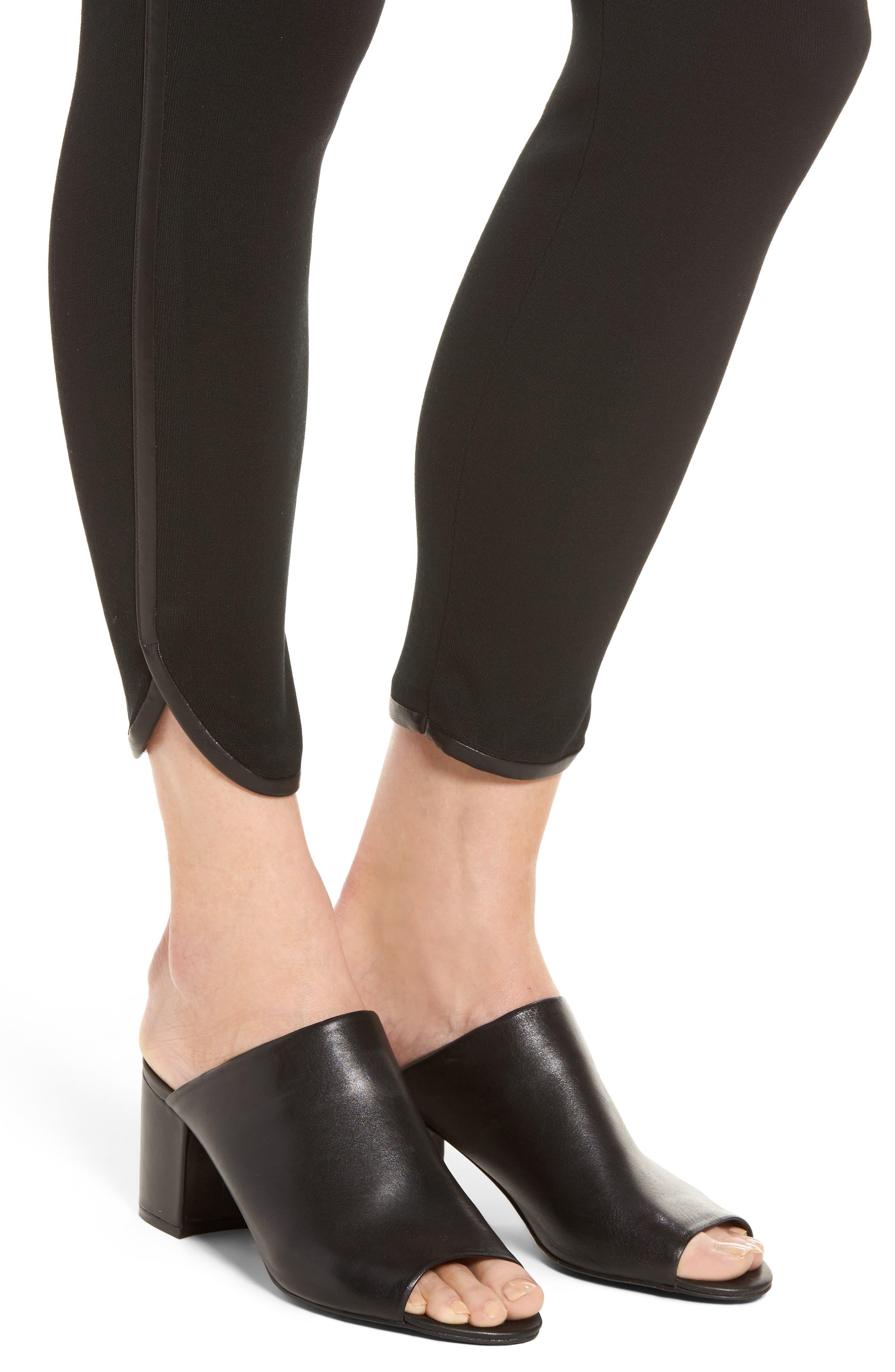 Faux Leather Trim Leggings,                             Alternate thumbnail 4, color,                             BLACK