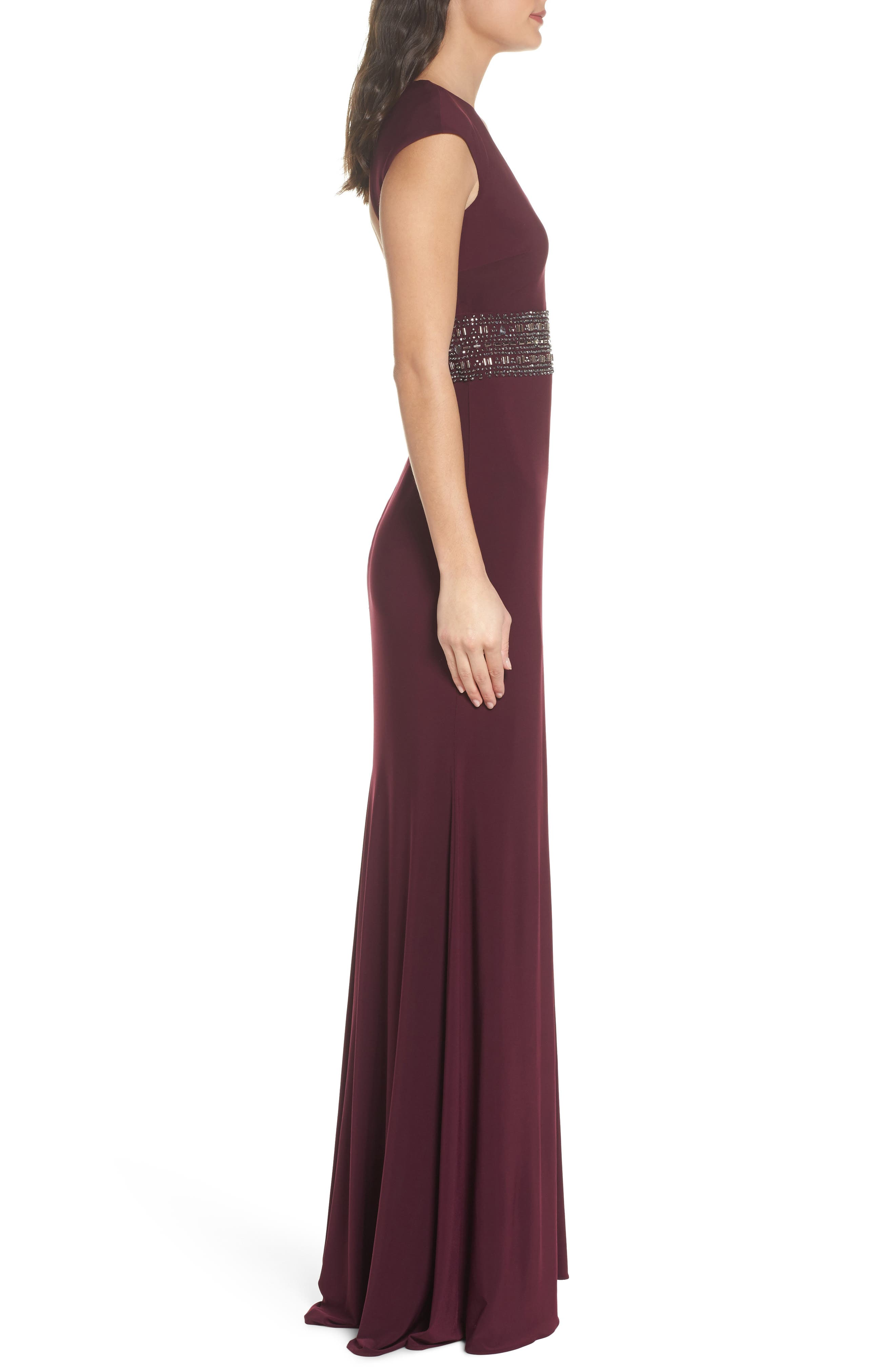 Bead Embellished Cap Sleeve Gown,                             Alternate thumbnail 3, color,                             930