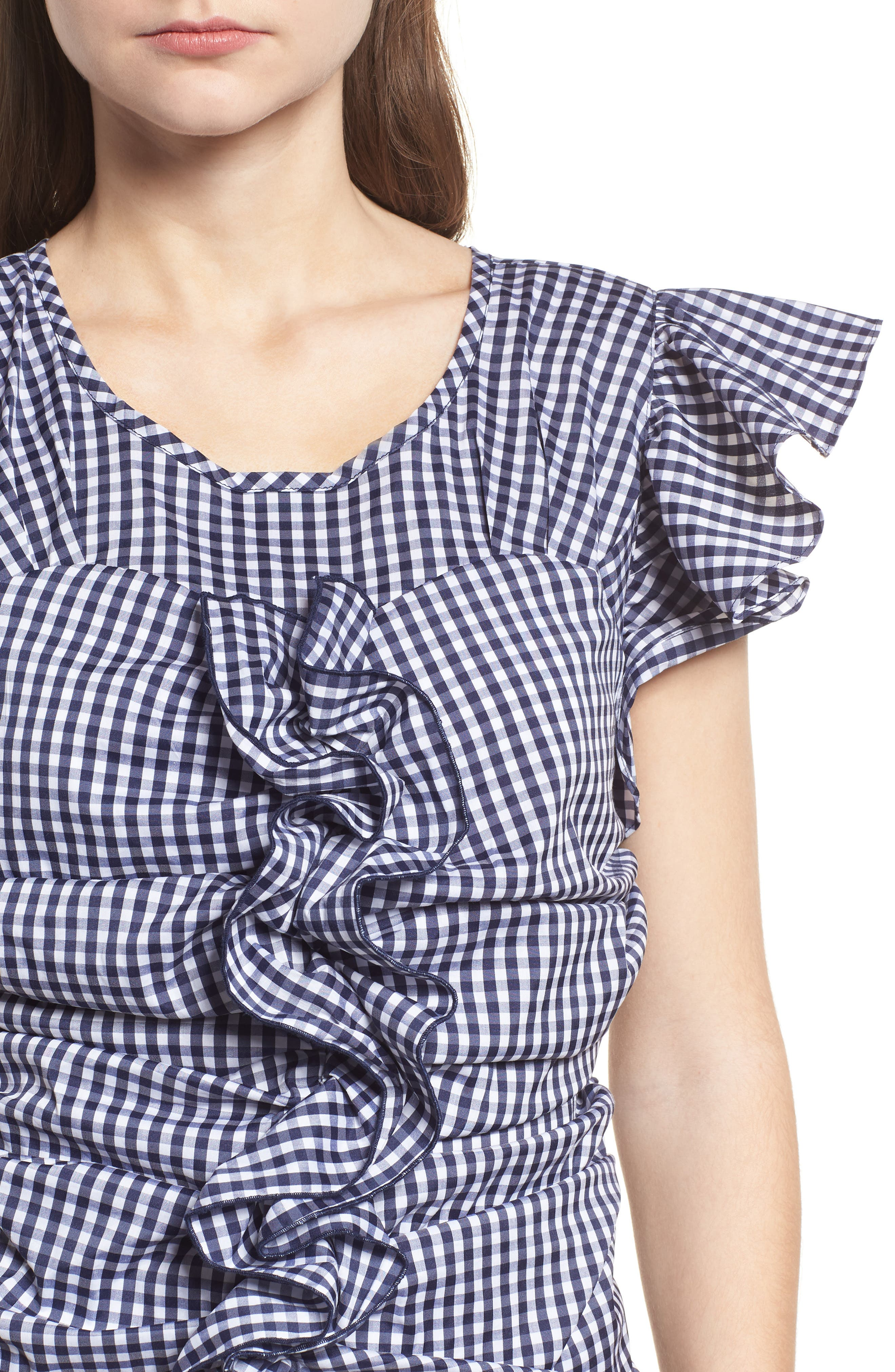 Gingham Ruched Poplin Top,                             Alternate thumbnail 4, color,                             401
