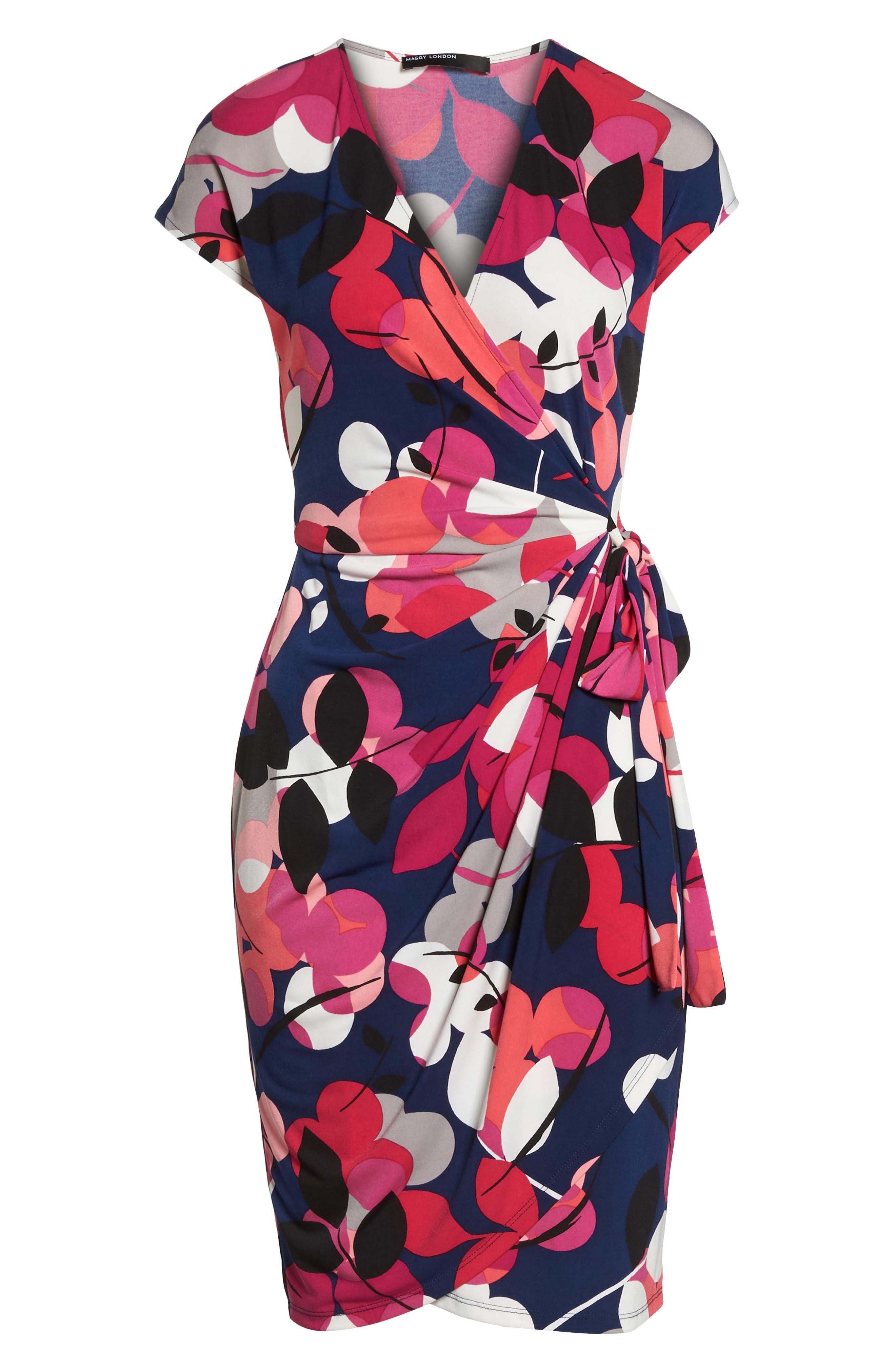 Berry Floral Wrap Dress,                             Alternate thumbnail 7, color,                             402