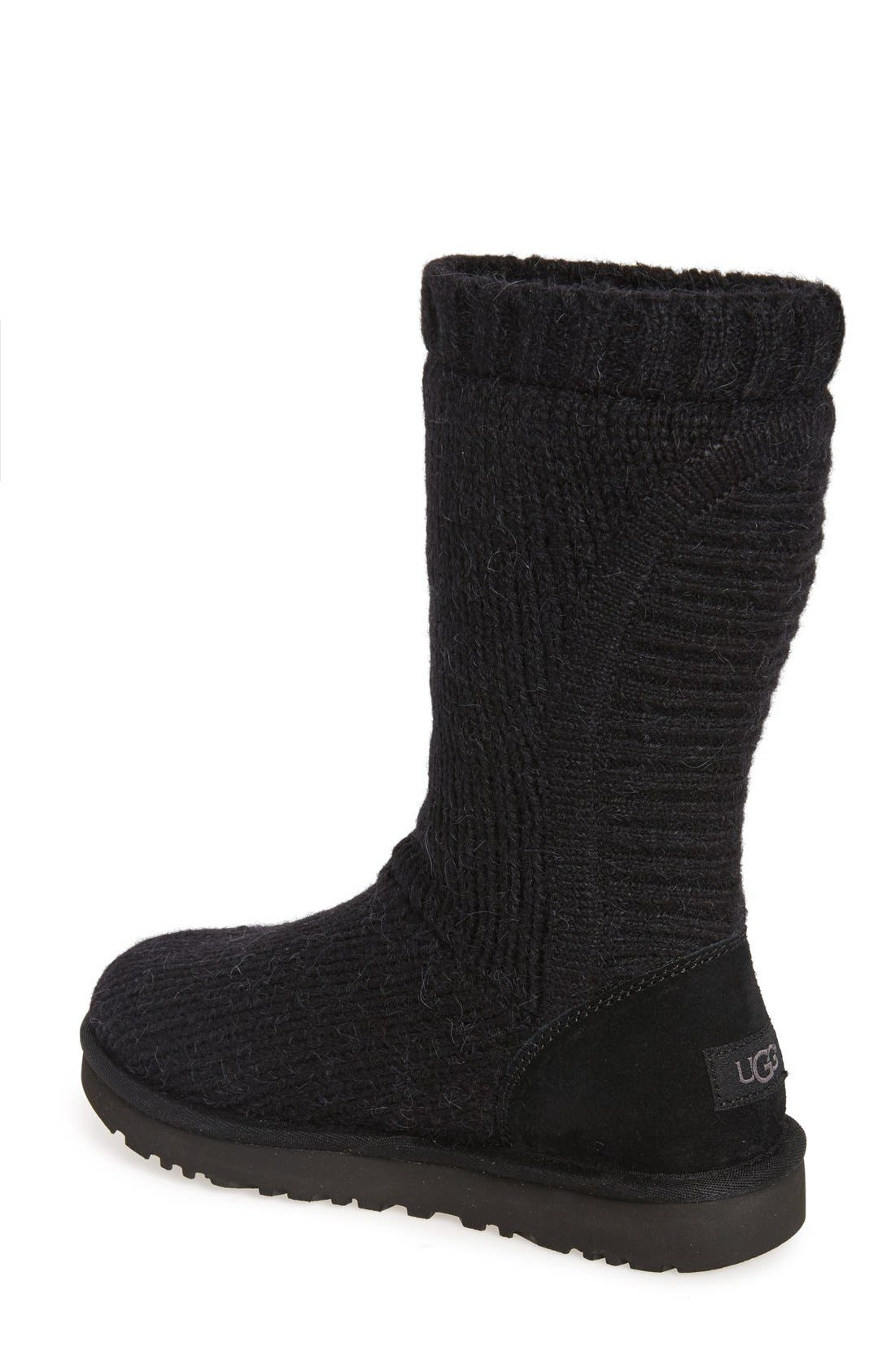 'Capra' Ribbed Knit Genuine Shearling Lined Boot,                             Alternate thumbnail 3, color,                             001