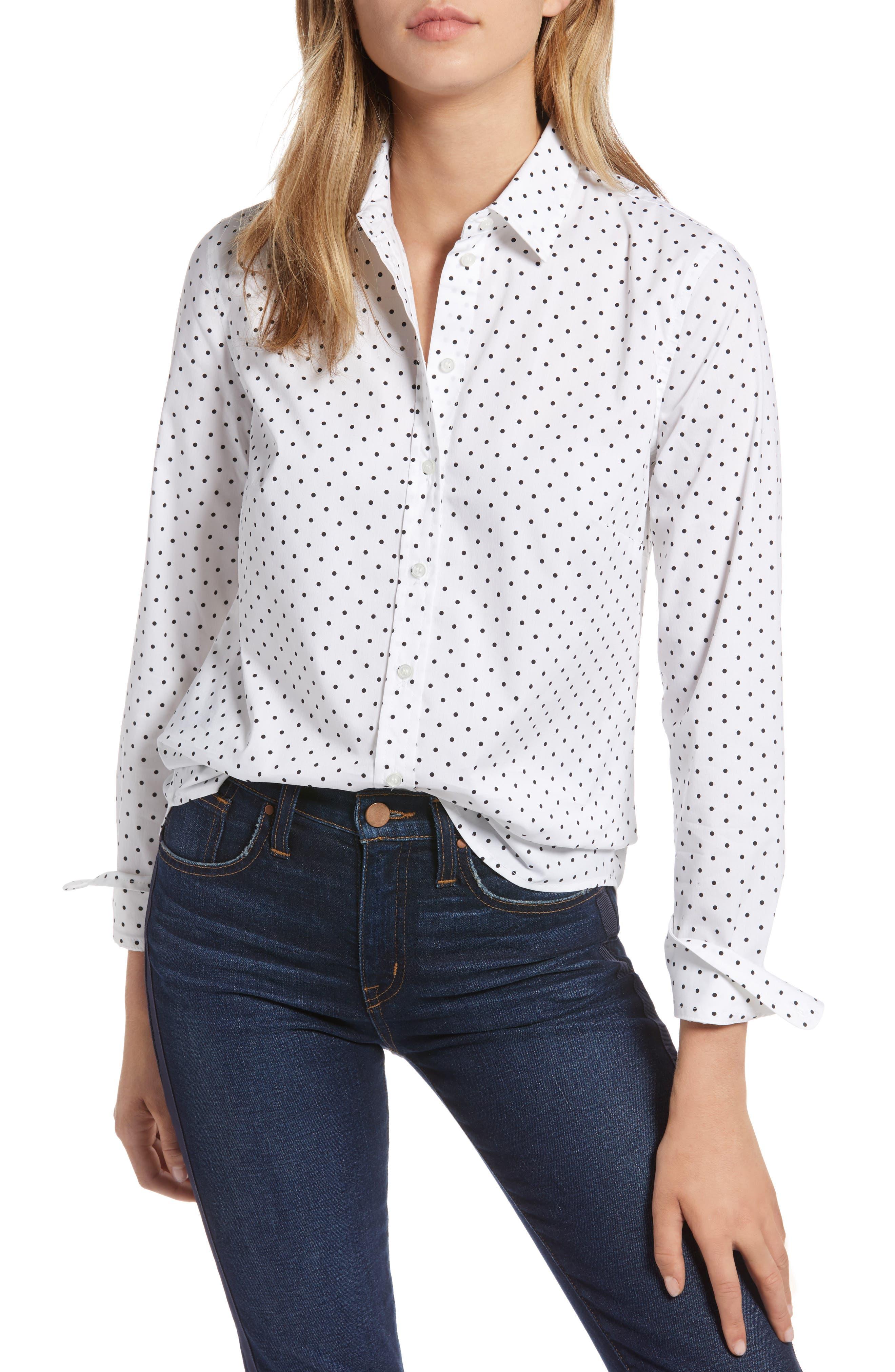 Polka Dot Stretch Cotton Blend Shirt,                             Main thumbnail 1, color,                             WHITE BISOU DOT