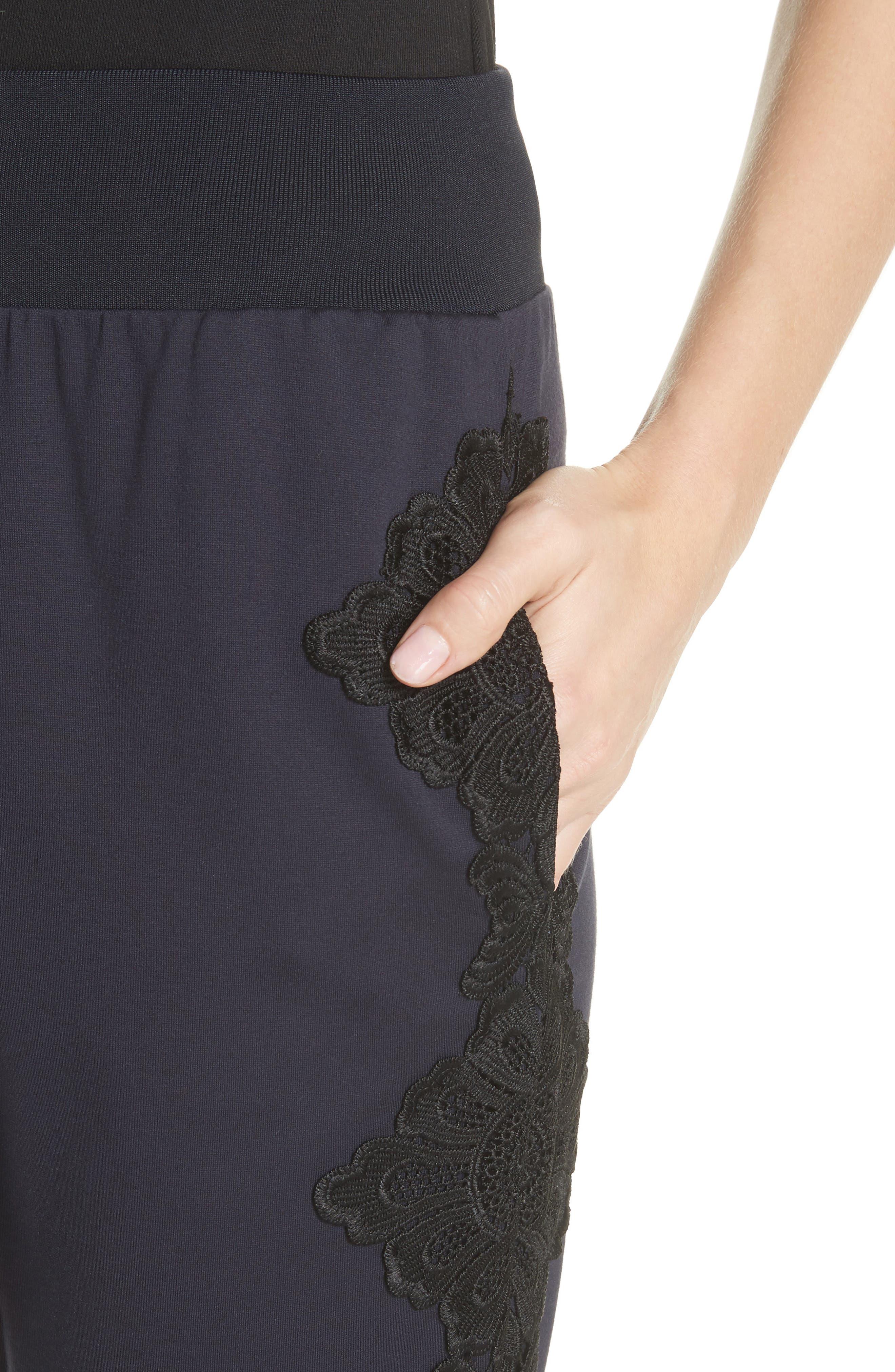 Lizeeba Lace Trim Jogger Pants,                             Alternate thumbnail 4, color,