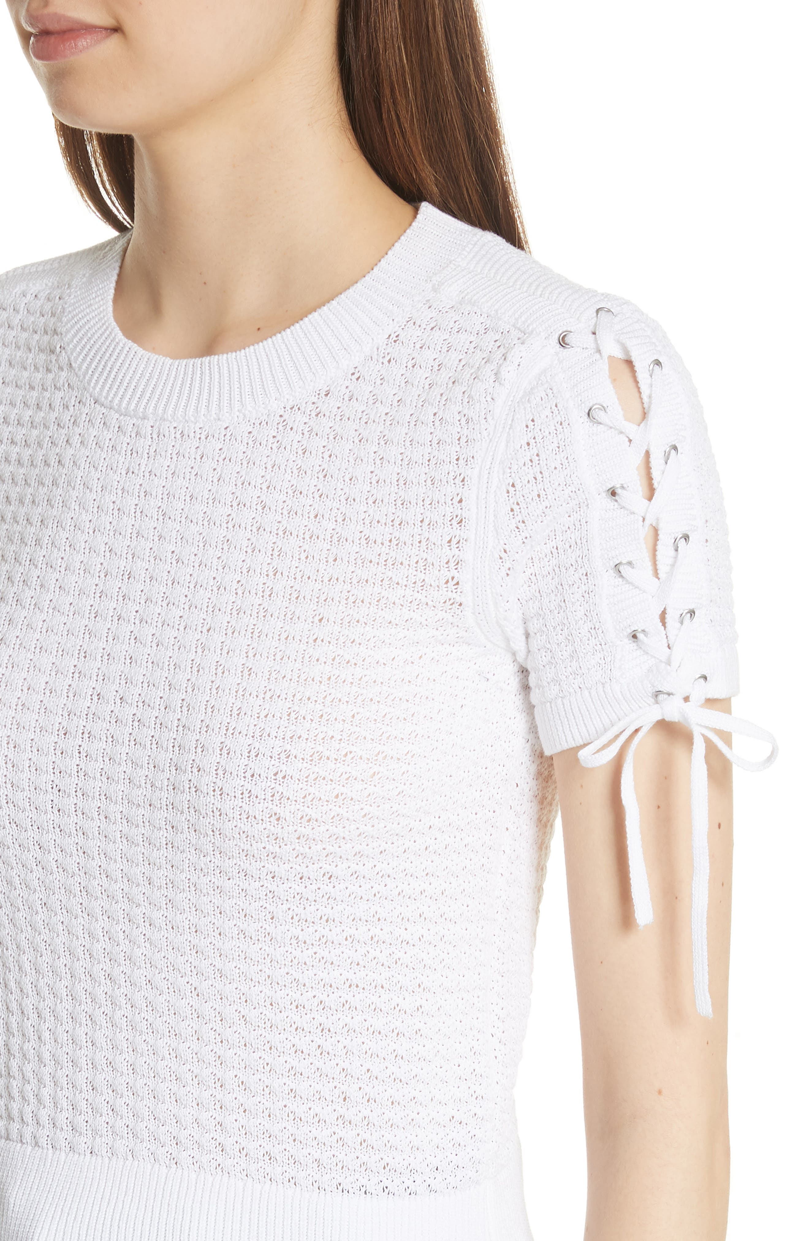 Iona Lace-Up Sleeve Sweater,                             Alternate thumbnail 4, color,                             100