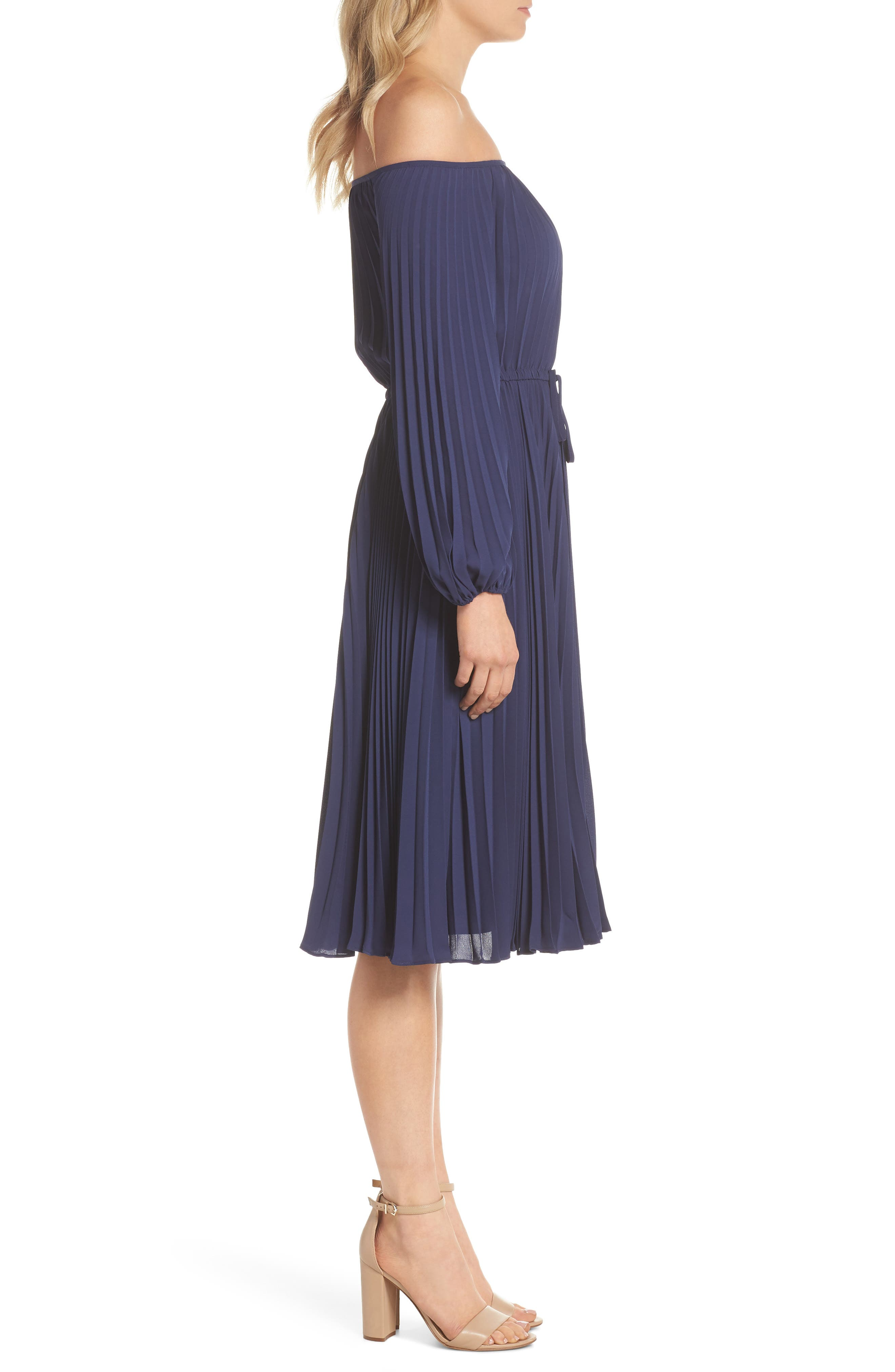 Elise Off the Shoulder Pleated Georgette Dress,                             Alternate thumbnail 3, color,                             NAVY W/ SELF PIPING