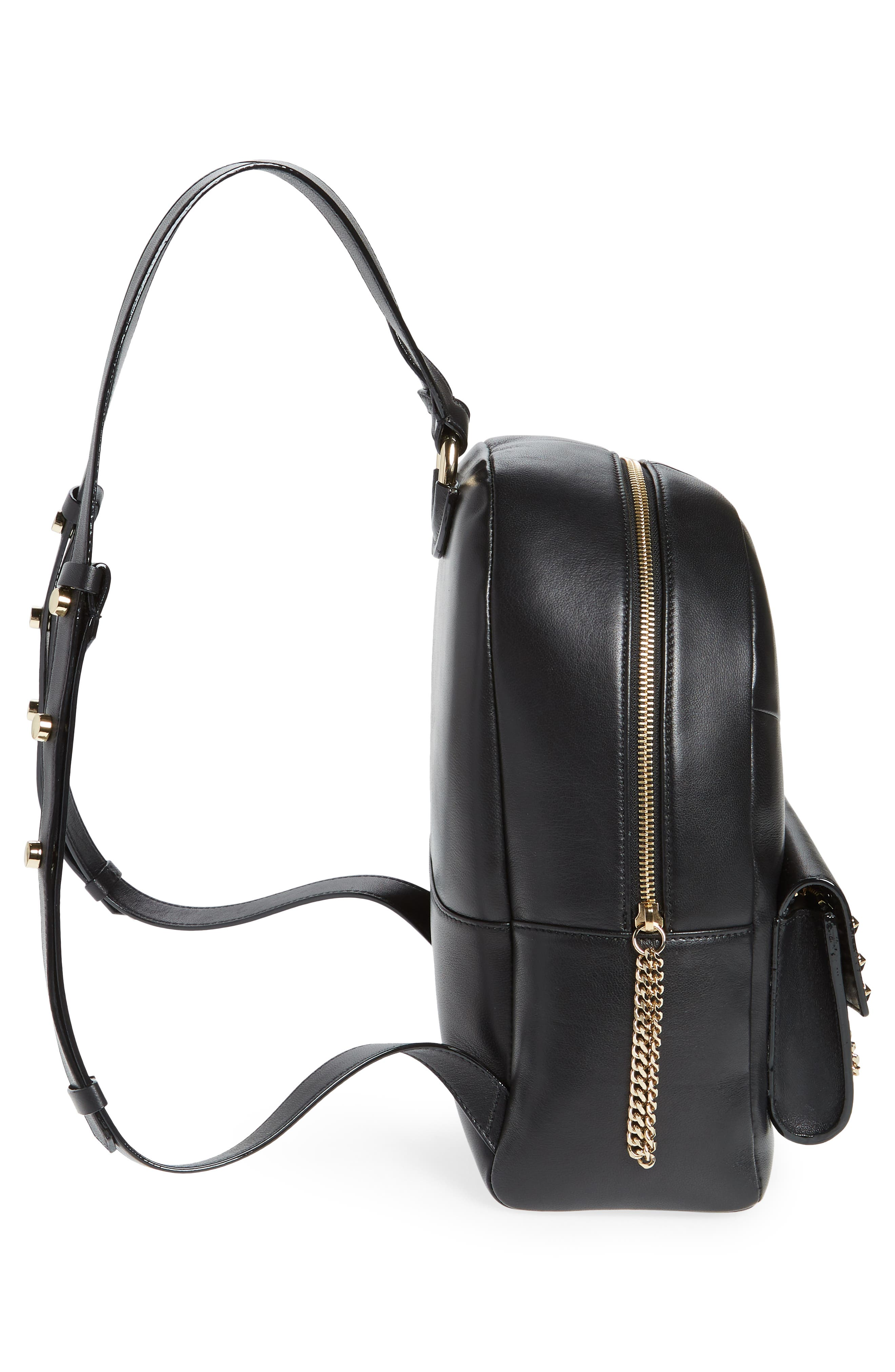 Cassie Star Studded Lambskin Leather Backpack,                             Alternate thumbnail 5, color,                             BLACK