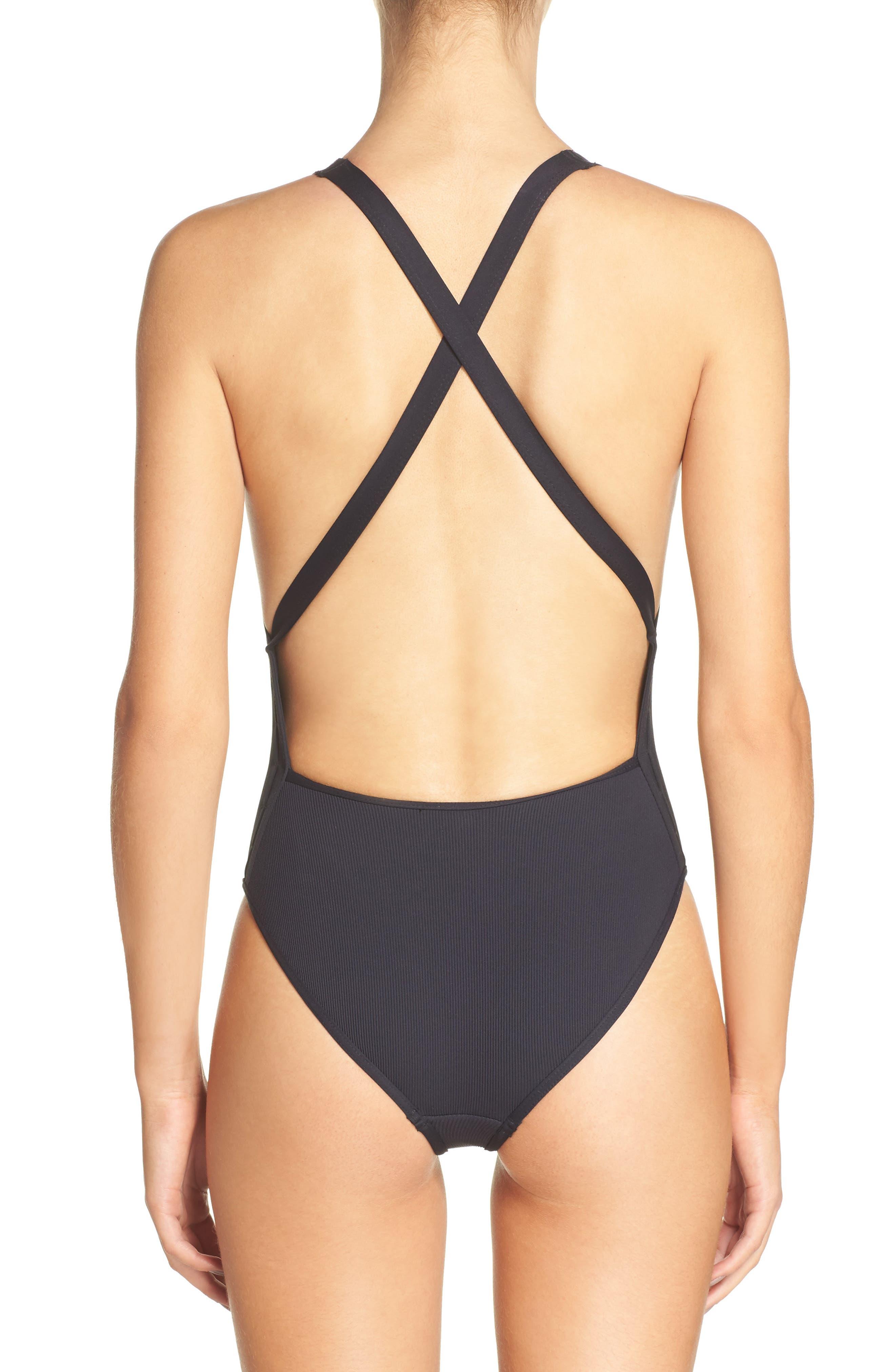 Halter One-Piece Swimsuit,                             Alternate thumbnail 2, color,                             001