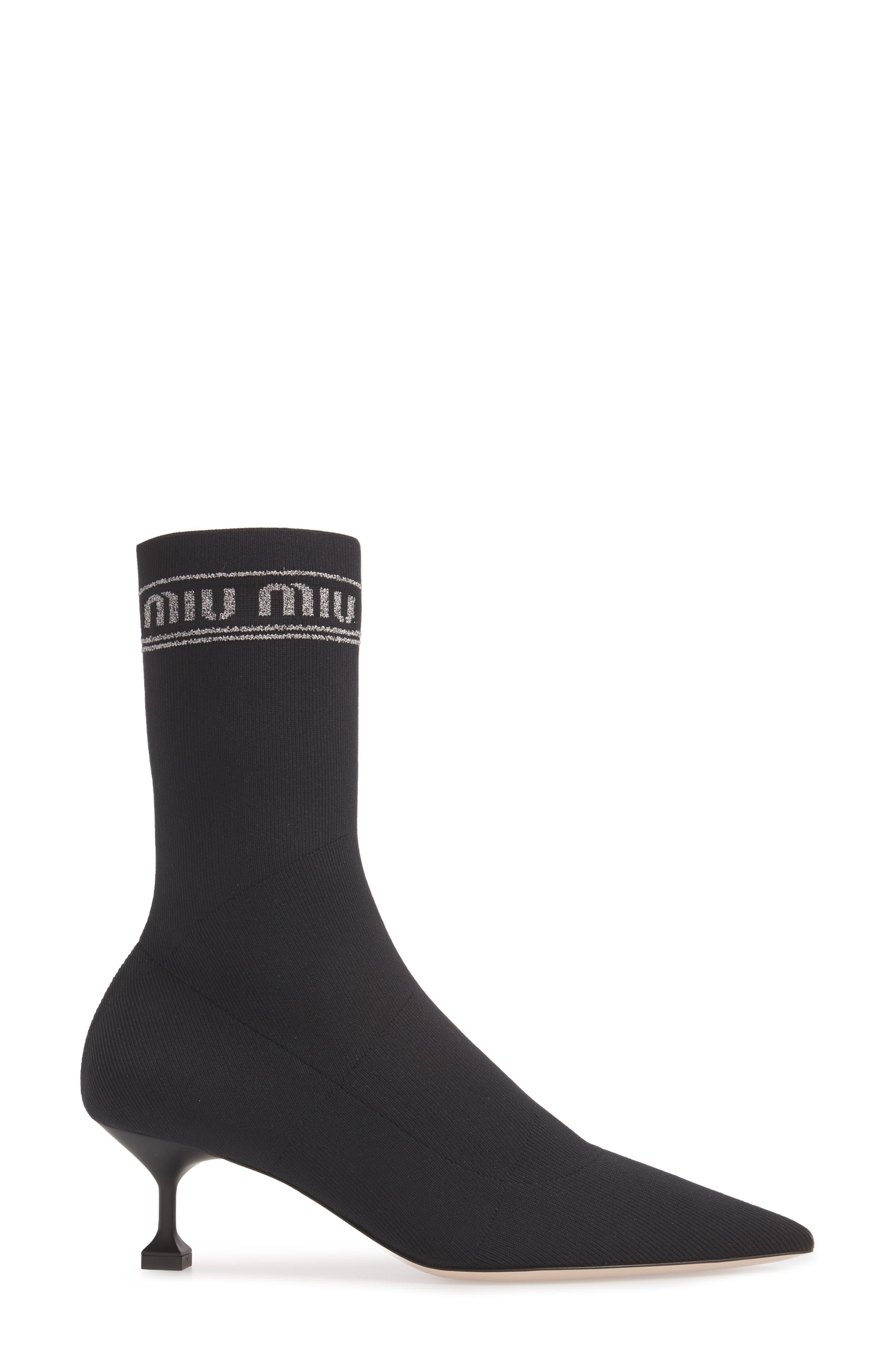 Logo Sock Bootie,                             Alternate thumbnail 3, color,                             BLACK