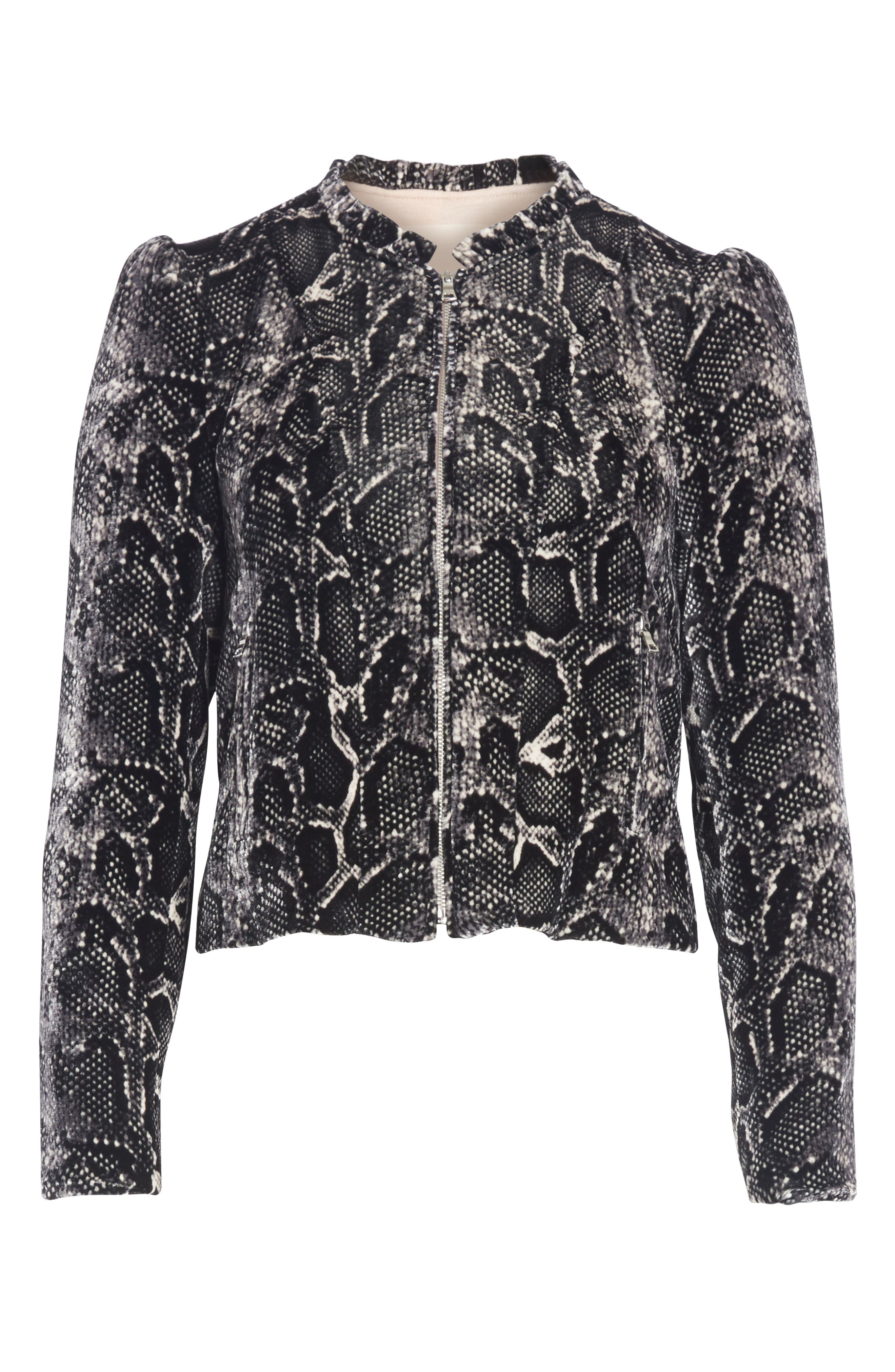Snake Print Velvet Jacket,                             Alternate thumbnail 5, color,                             WASHED BLACK COMBO