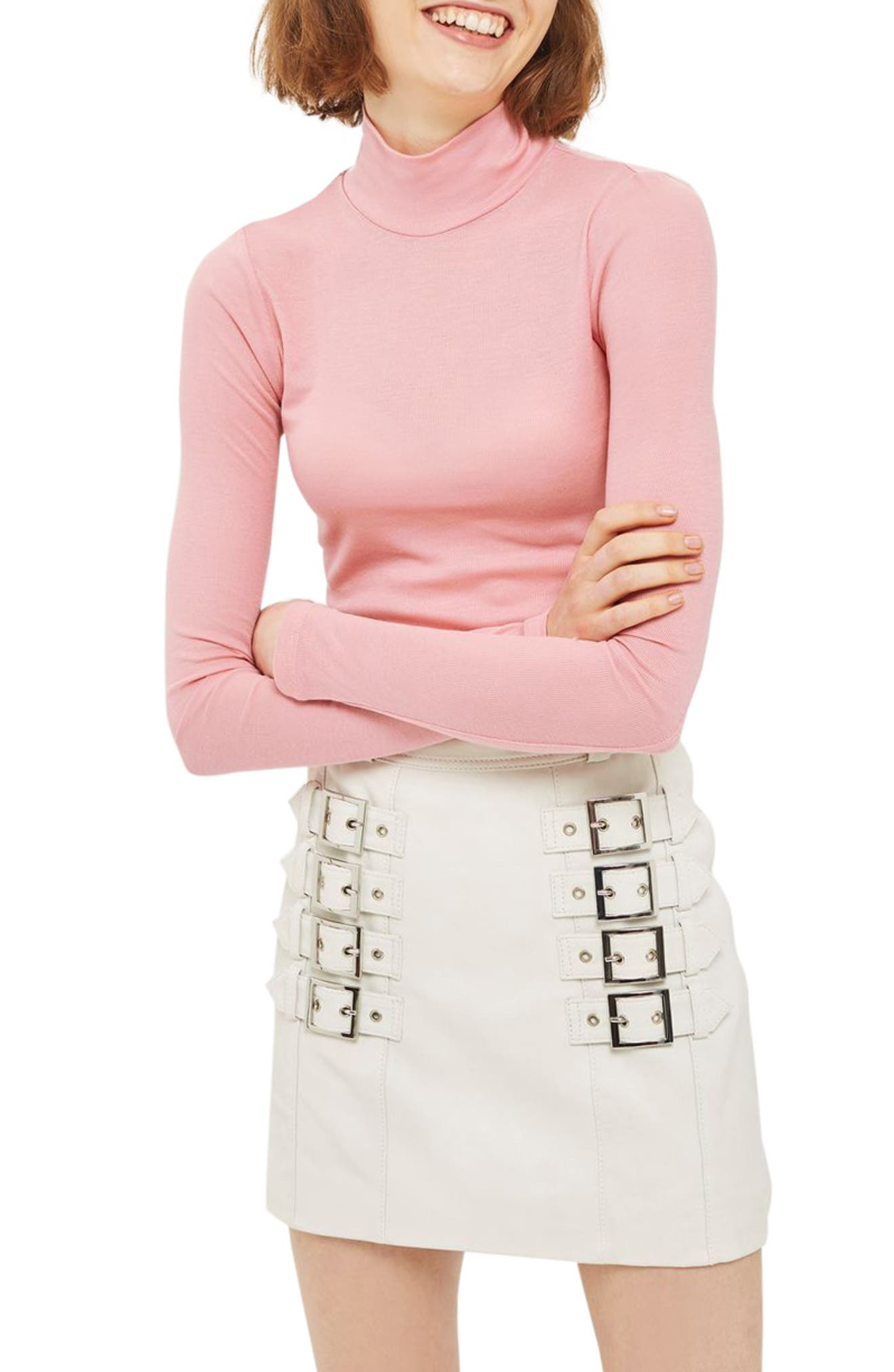 Ribbed Turtleneck Top,                             Main thumbnail 5, color,