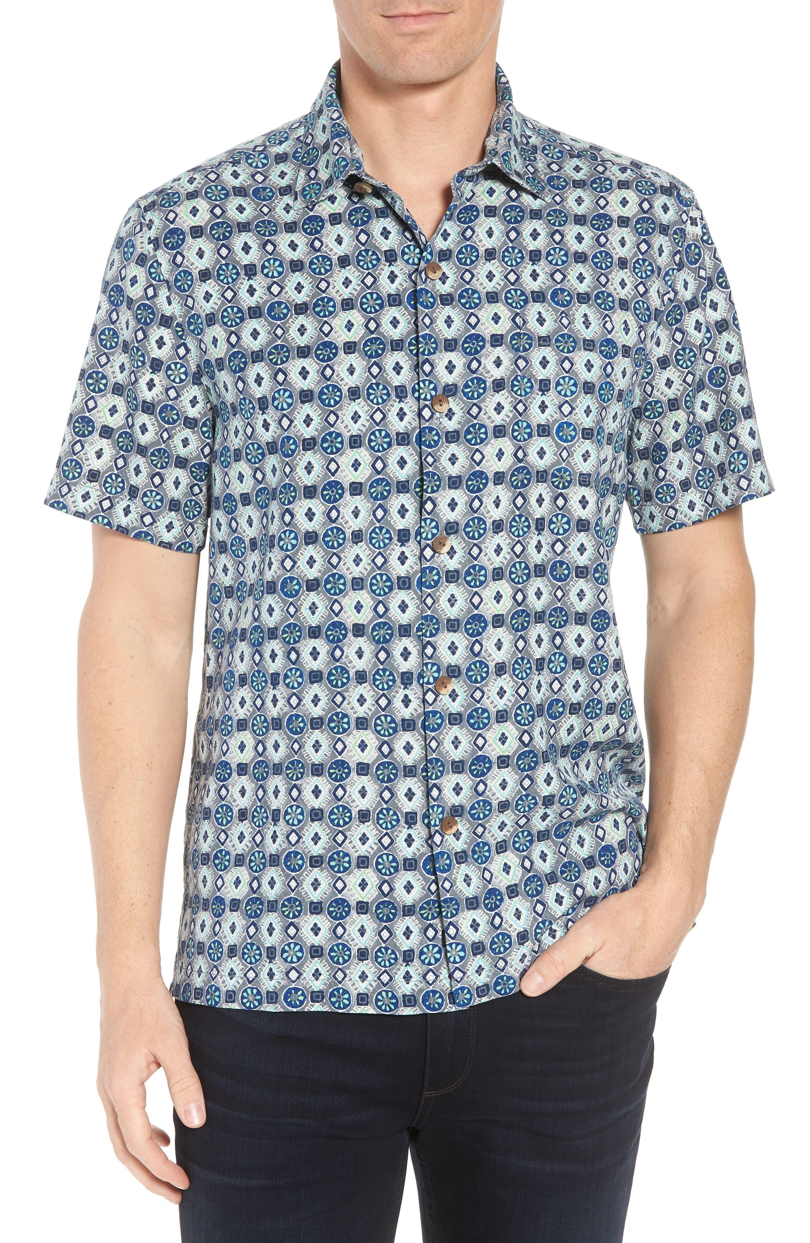 Tulum Tiles Silk Camp Shirt,                             Main thumbnail 1, color,                             BLACK
