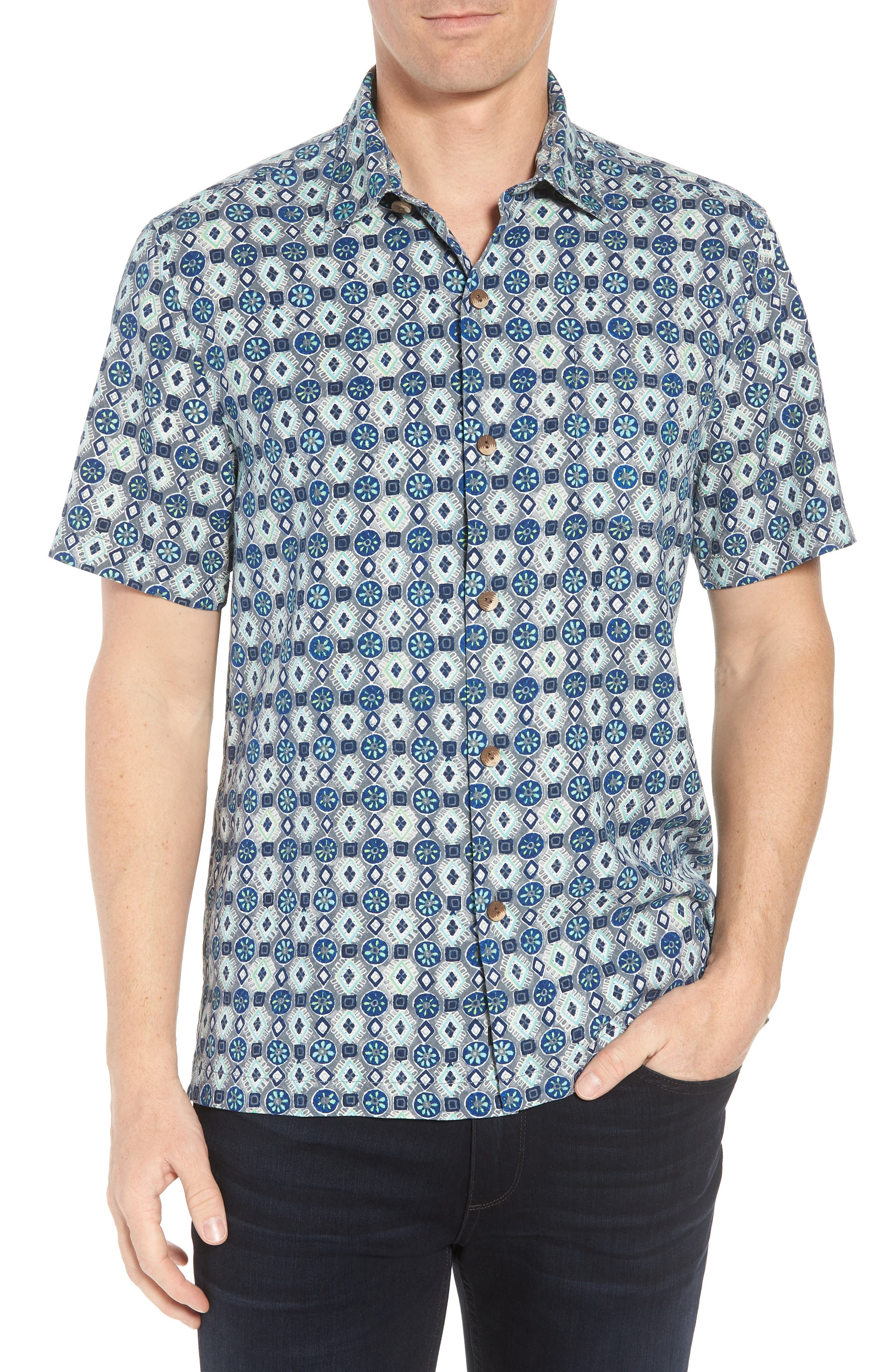 Tulum Tiles Silk Camp Shirt,                         Main,                         color, BLACK