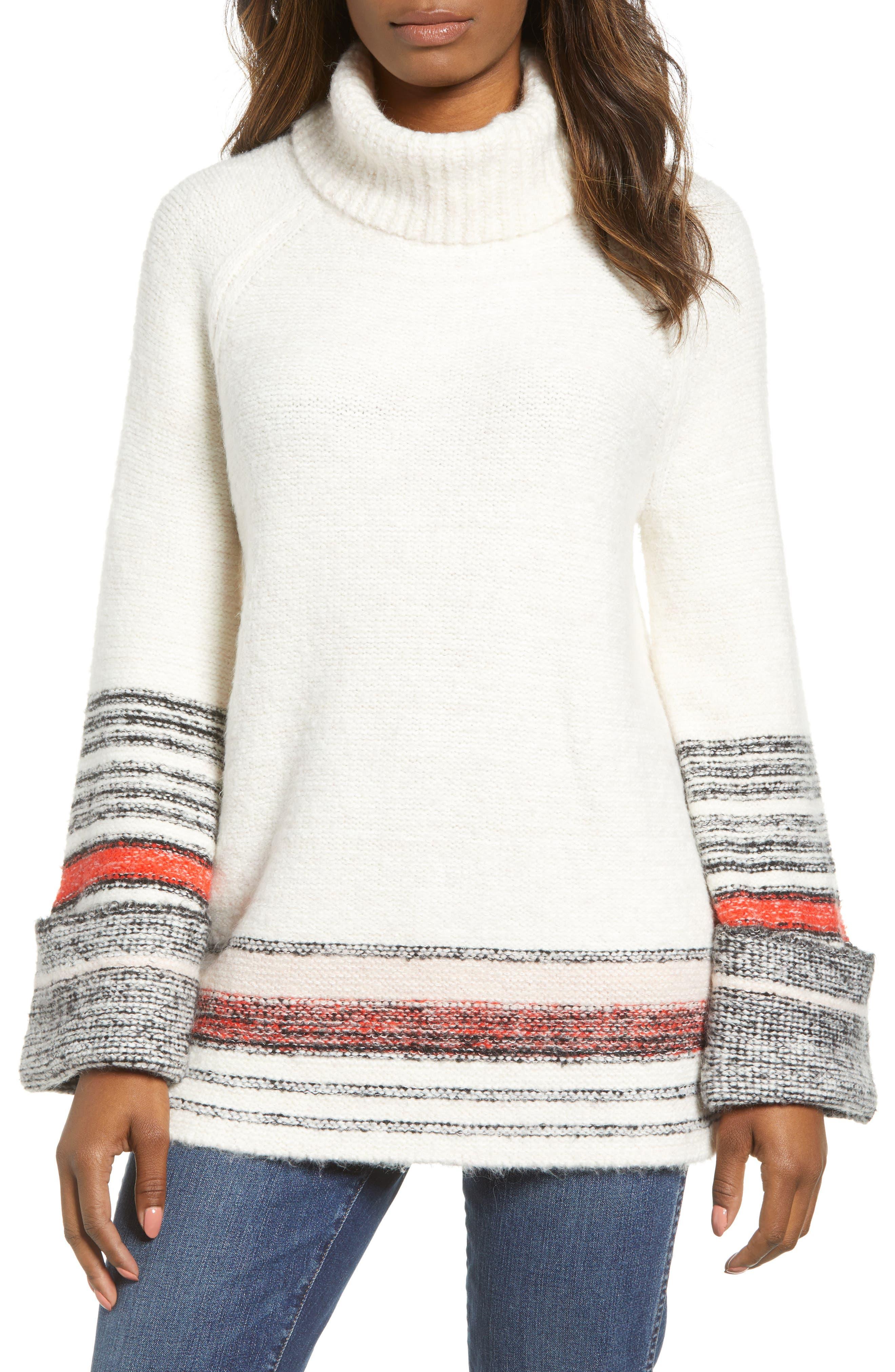 Border Stripe Sweater,                             Main thumbnail 1, color,                             IVORY COMBO