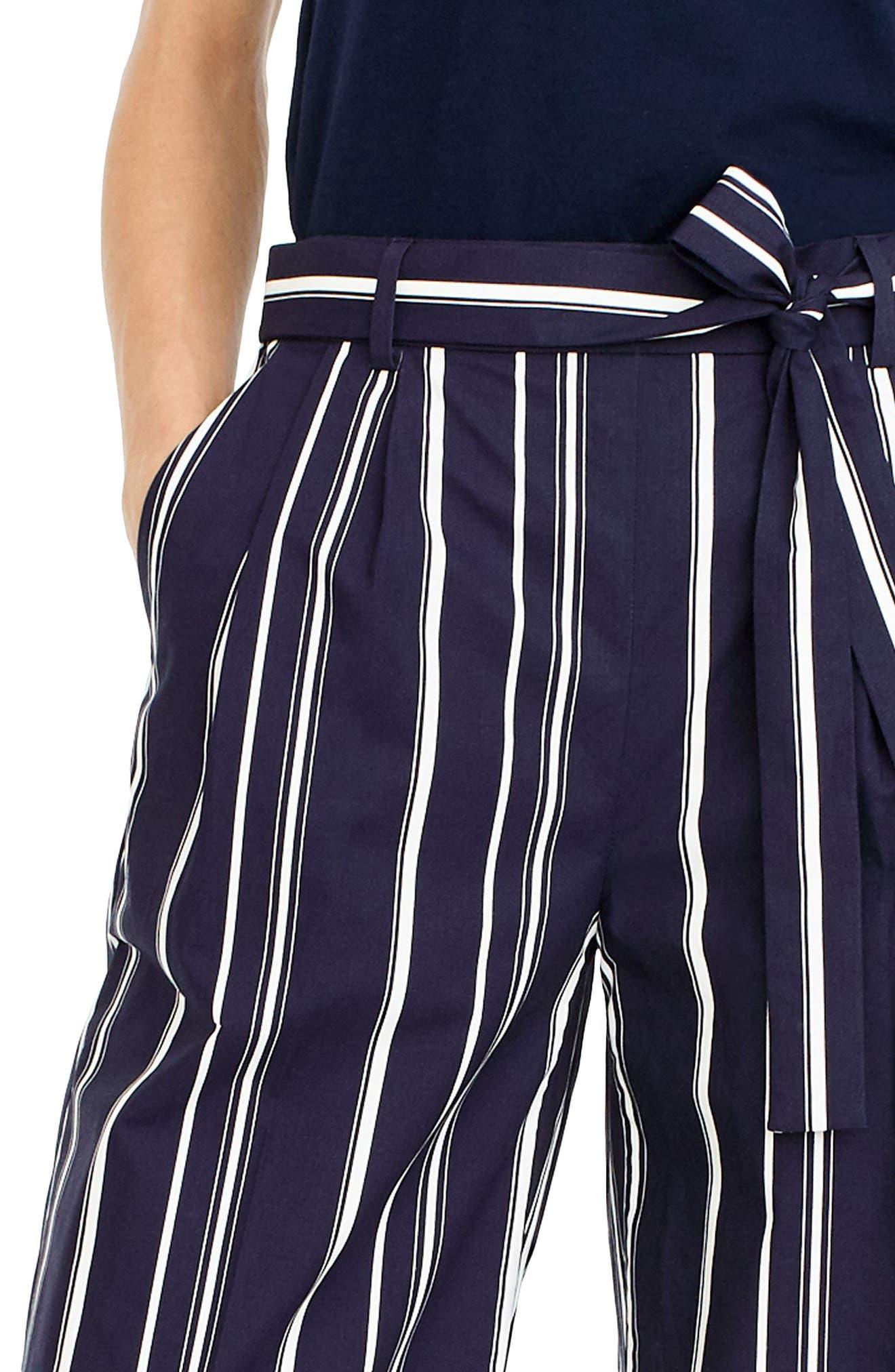 Wide Leg Stripe Cotton Poplin Pants,                             Alternate thumbnail 2, color,
