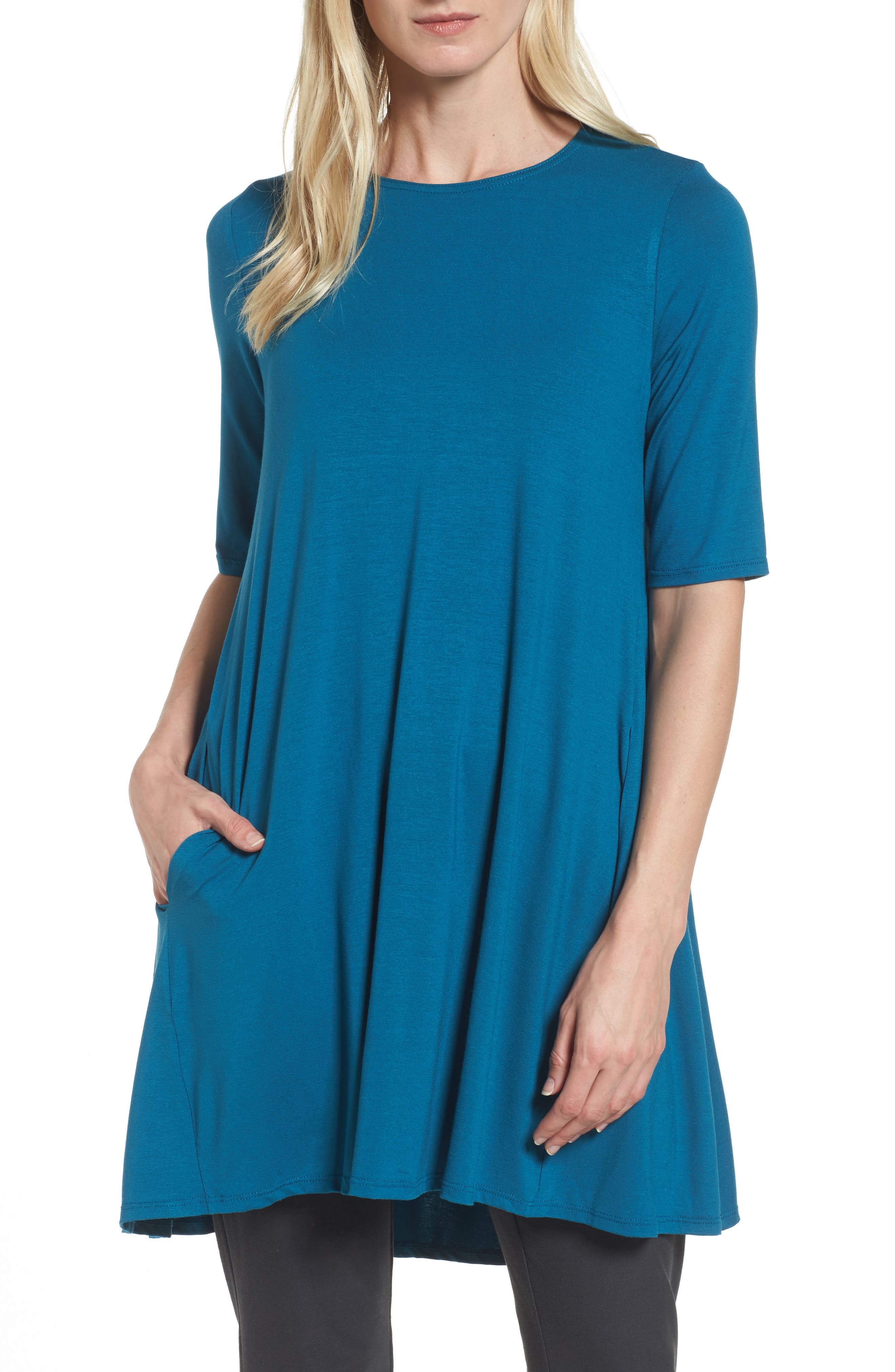 Lightweight Jersey Round Neck Tunic,                             Main thumbnail 4, color,