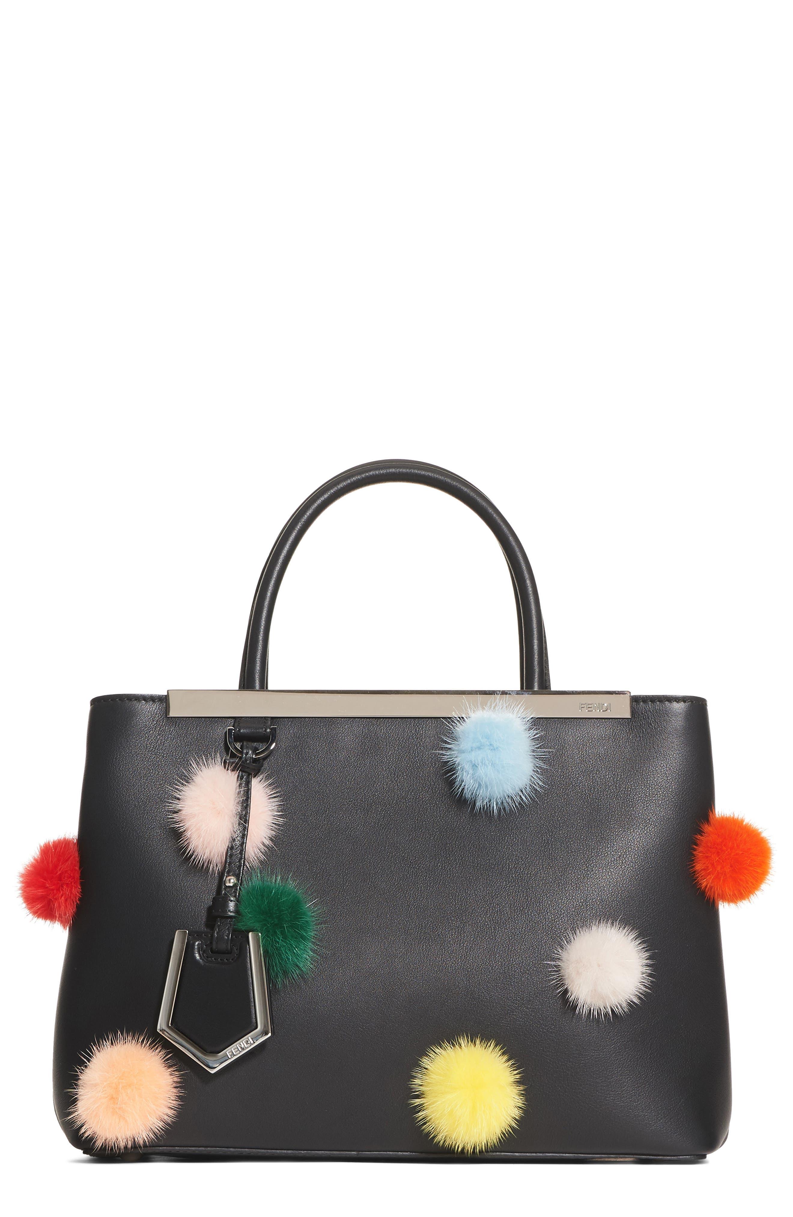 Petite2Jours Genuine Mink Fur & Leather Shopper,                         Main,                         color, BLACK MULTI