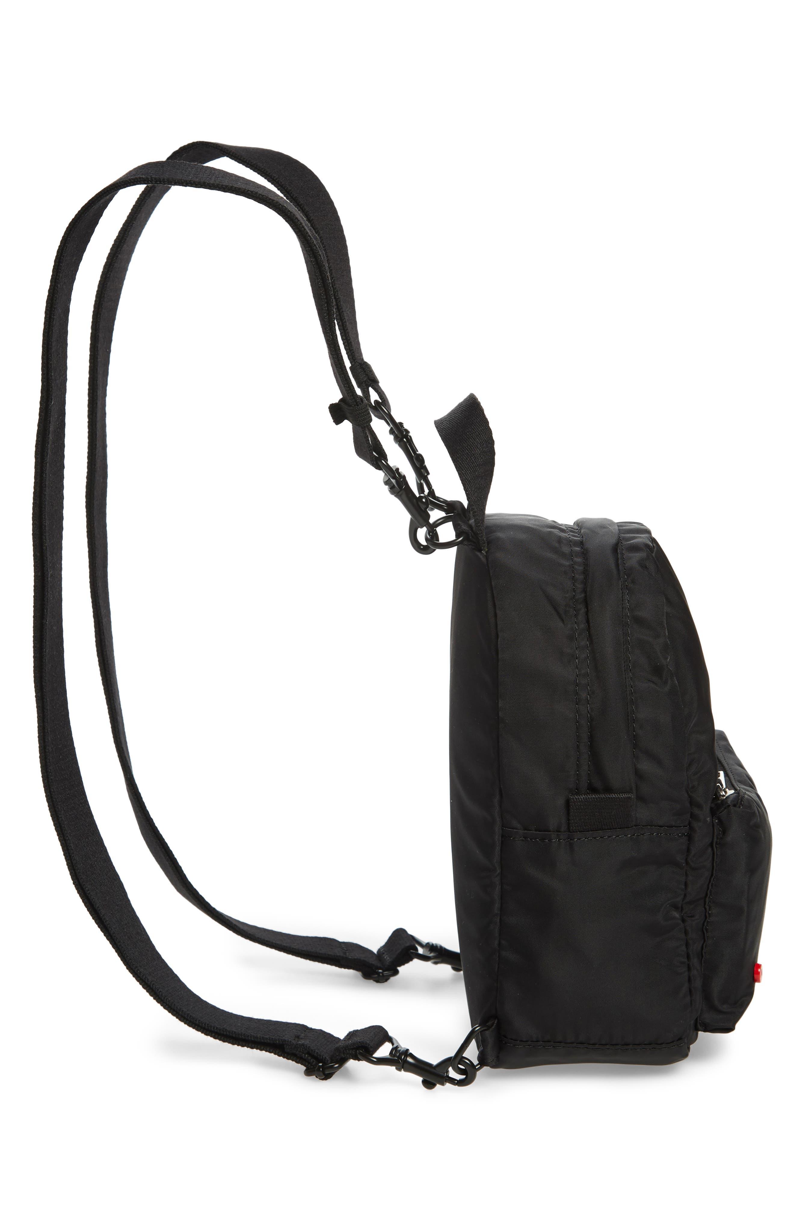 Mini Hart Convertible Nylon Backpack,                             Alternate thumbnail 6, color,                             BLACK