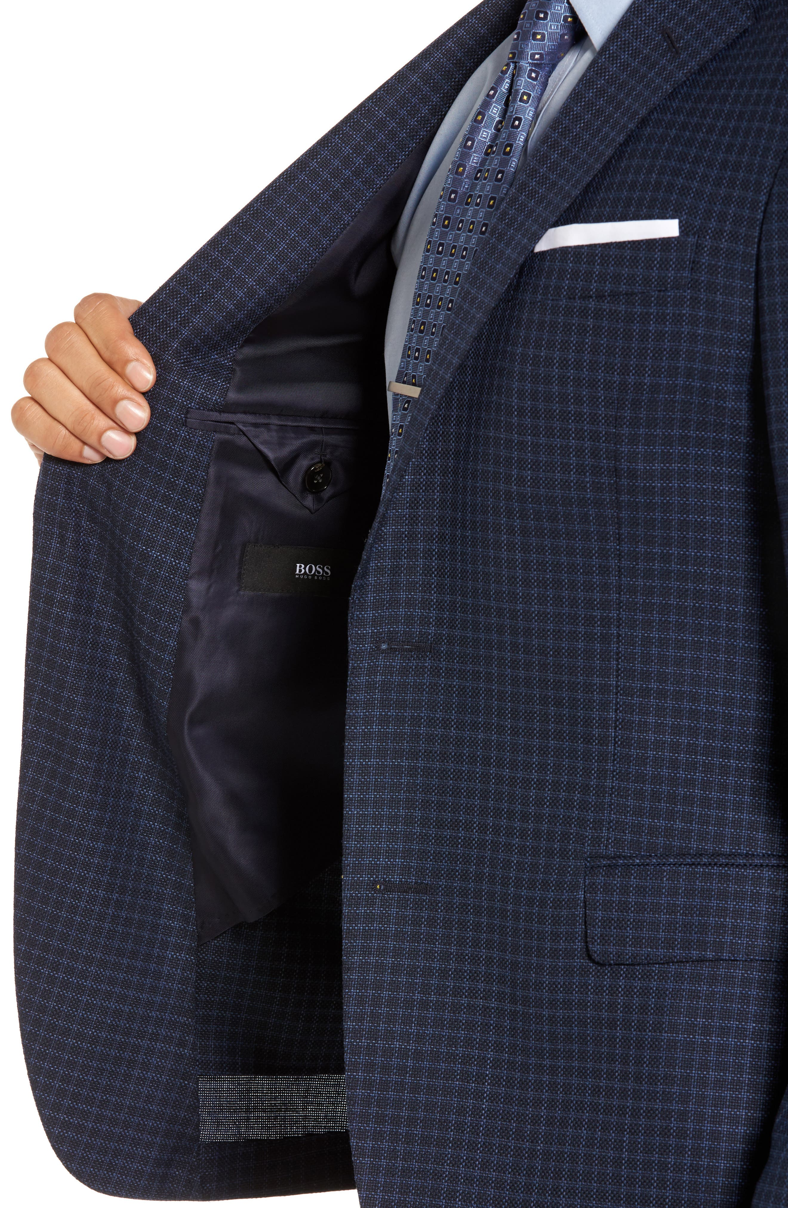 Nobis Trim Fit Check Wool Sport Coat,                             Alternate thumbnail 4, color,